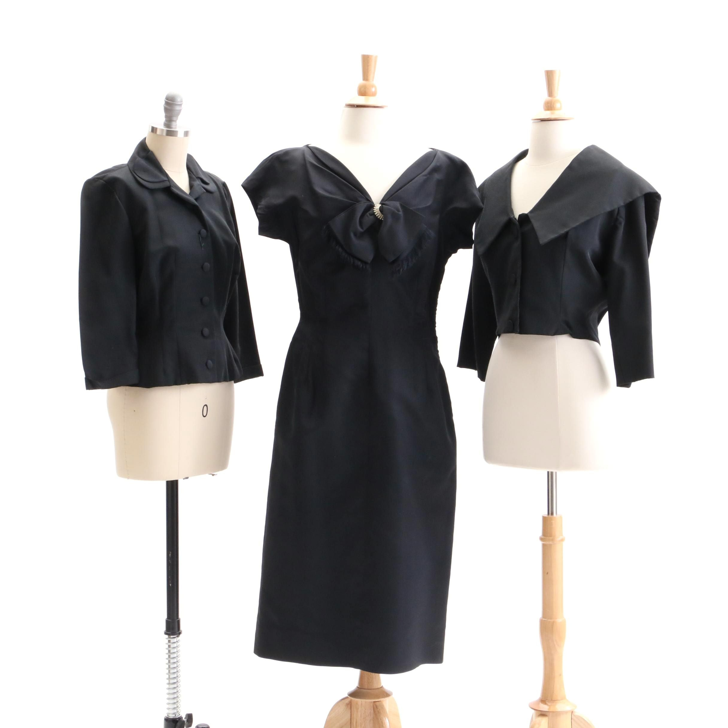 Circa 1960s Vintage Black Cocktail Dress and Jackets