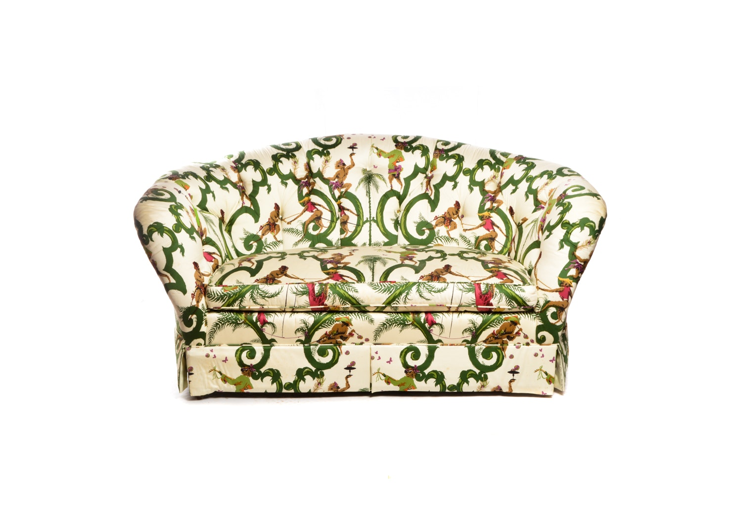 Jungle Print Upholstered Cabriole Loveseat, 20th/21st Century