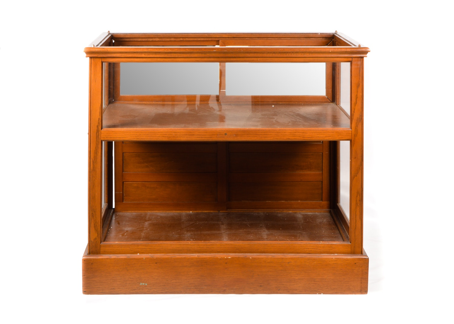Oak Store Display Cabinet with Glass Sides, 20th Century