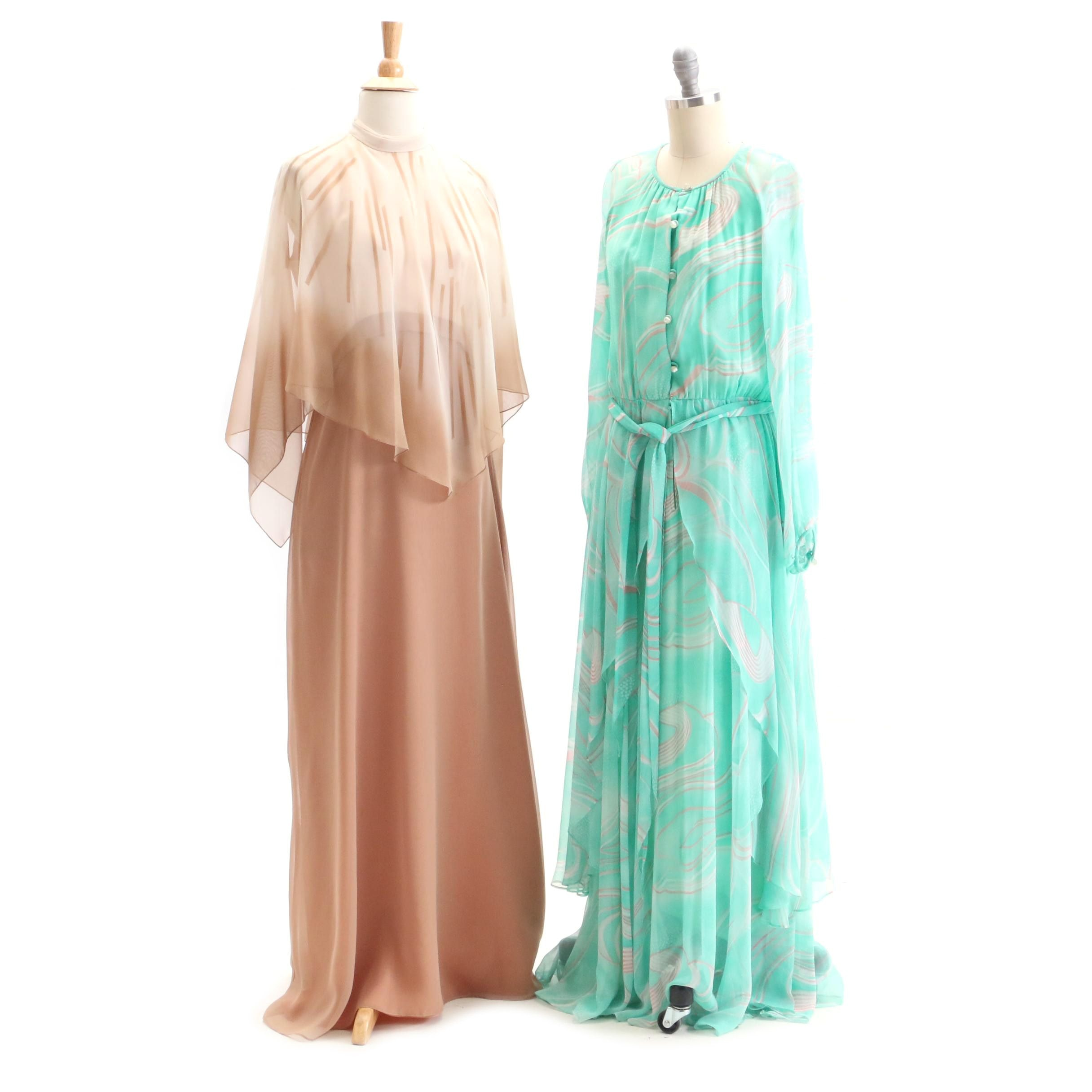 Circa 1970s Vintage Elgin Dress and A.J. Bari Maxi Dresses