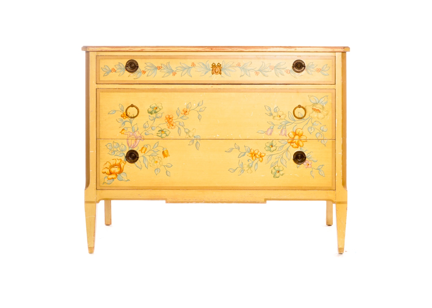 Floral Themed Painted Wooden Chest of Drawers, Mid-20th Century