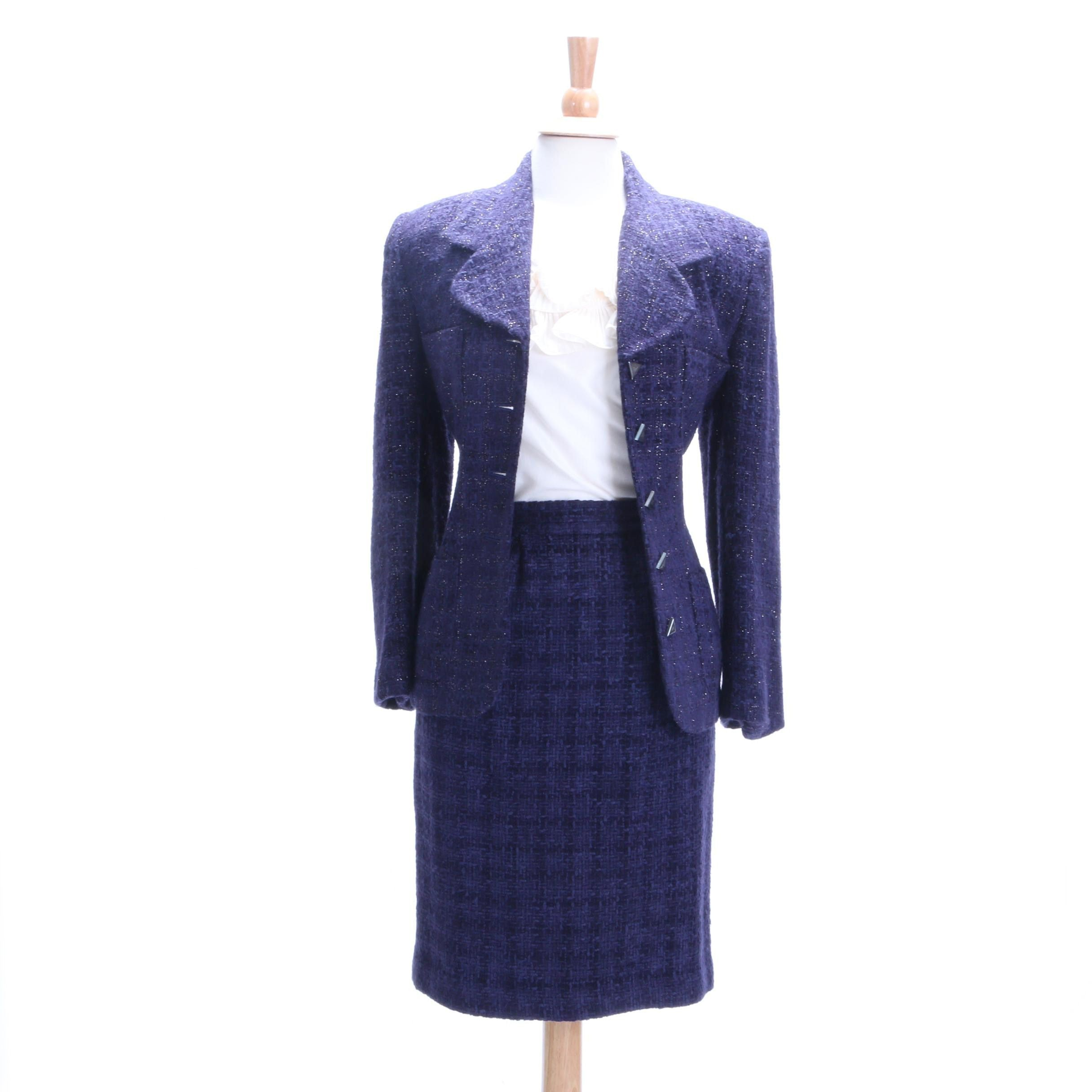 Executive Collection Bouclé Skirt Suit and Oscar de la Renta Ruffled Silk Blouse