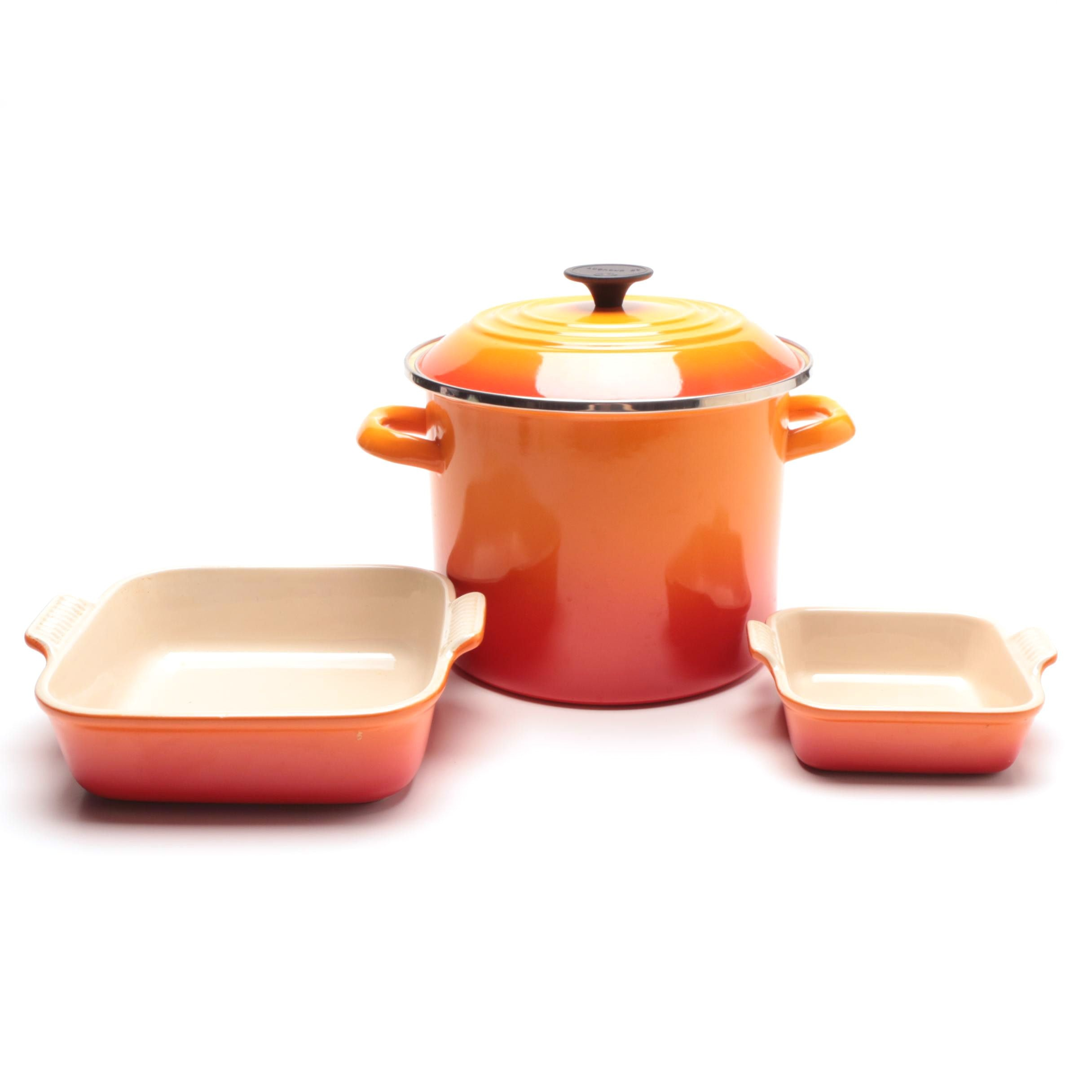 Large Le Creuset Soup Pot with Stoneware Baking Dishes