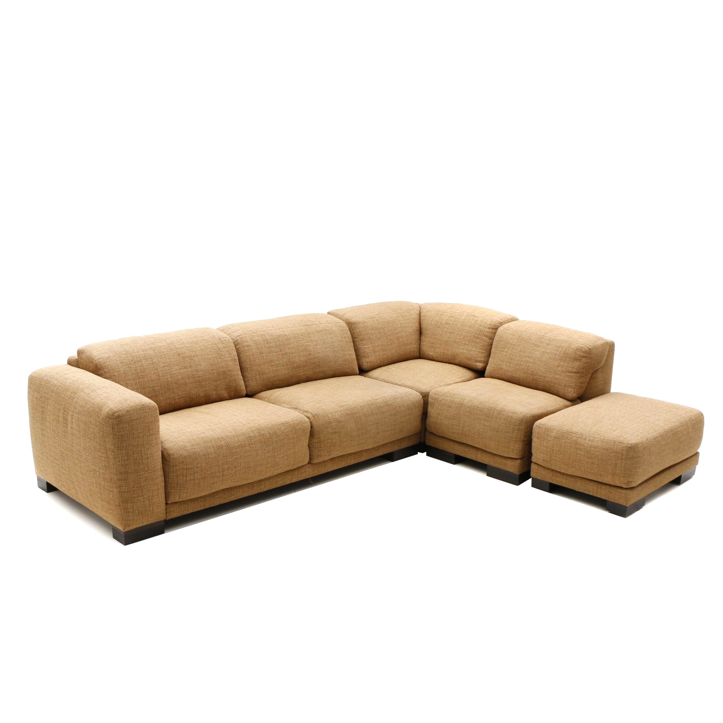Contemporary Tan Fabric Upholstered Sectional