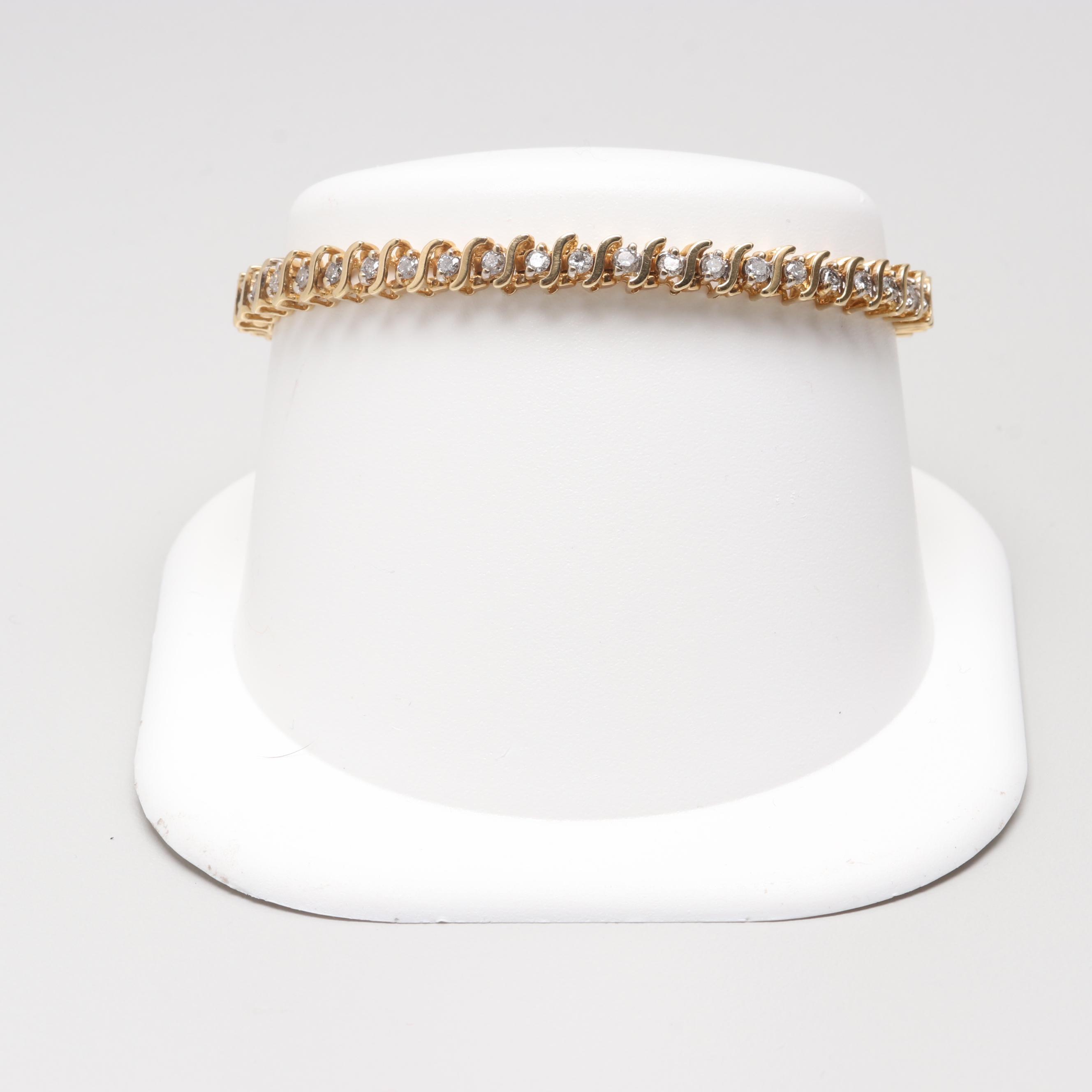14K Yellow Gold 1.57 CTW Diamond Bracelet