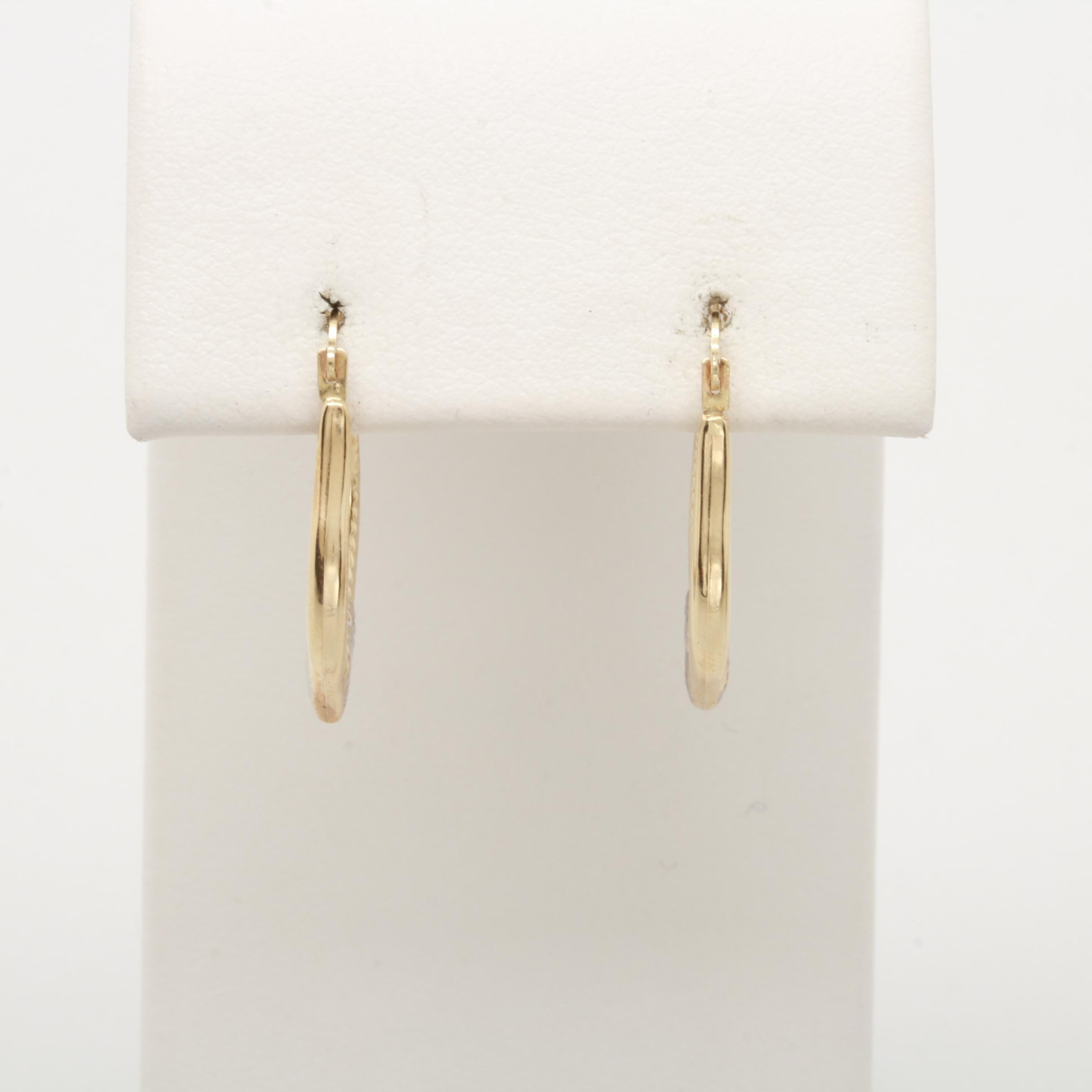 14K Yellow Gold Earrings with White Gold Accents