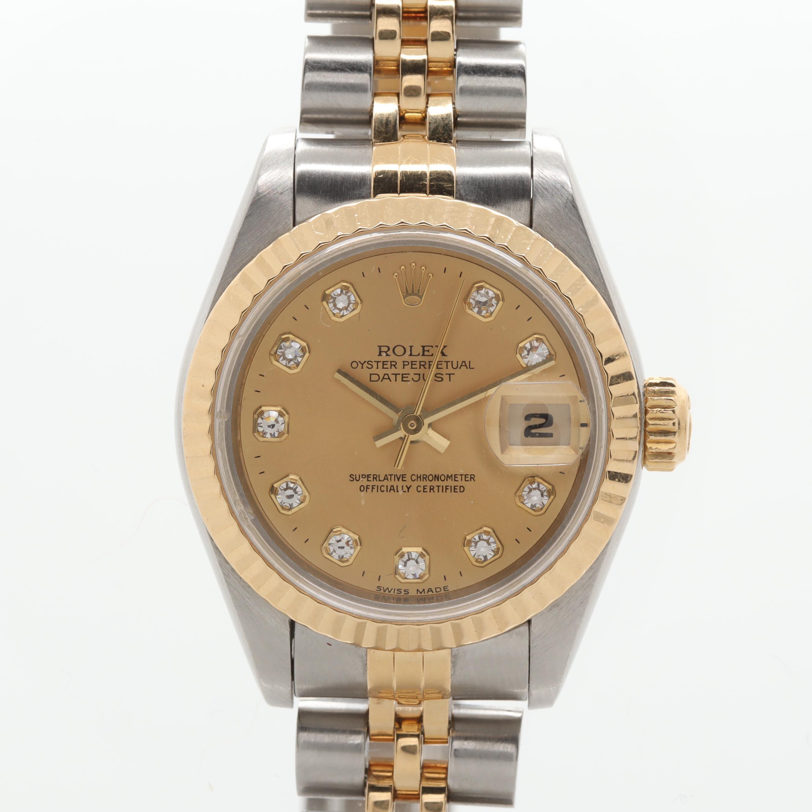 Circa 1994 Rolex 18K Yellow Gold and Stainless Steel Diamond Wristwatch