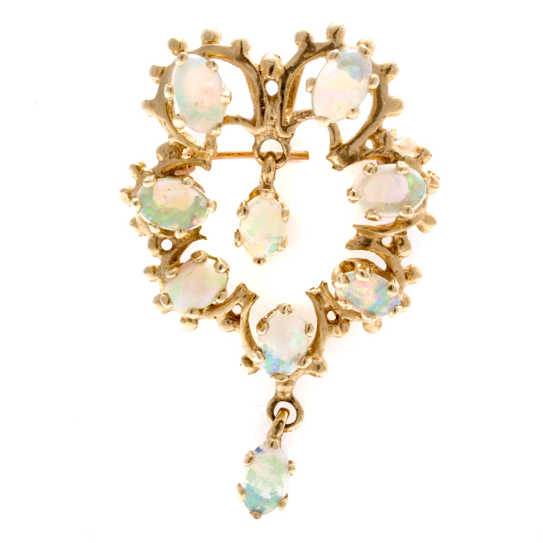 Vintage 14K Yellow Gold and Opal Converter Horseshoe Pendant Brooch