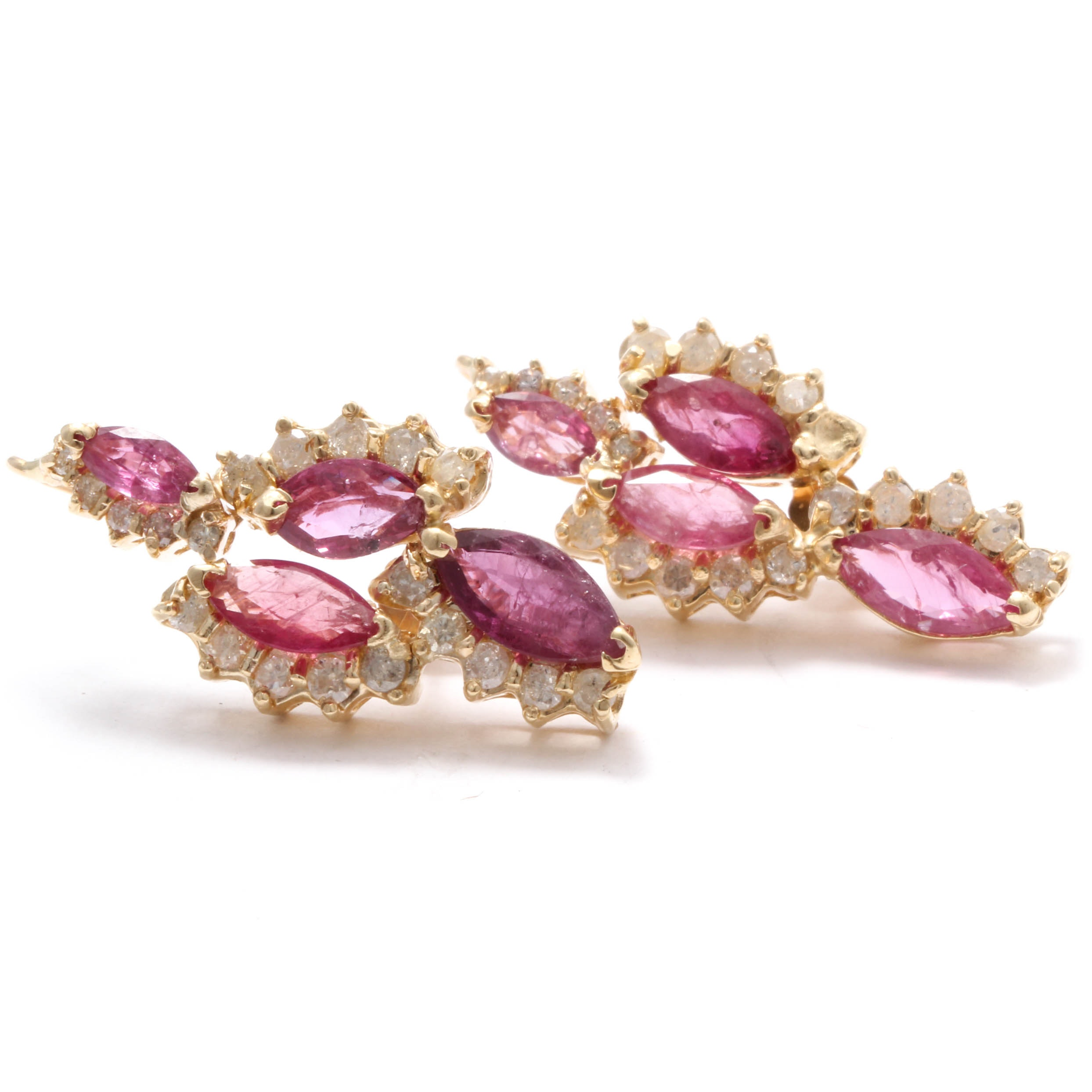 14K Yellow Gold Diamond and Ruby Earrings