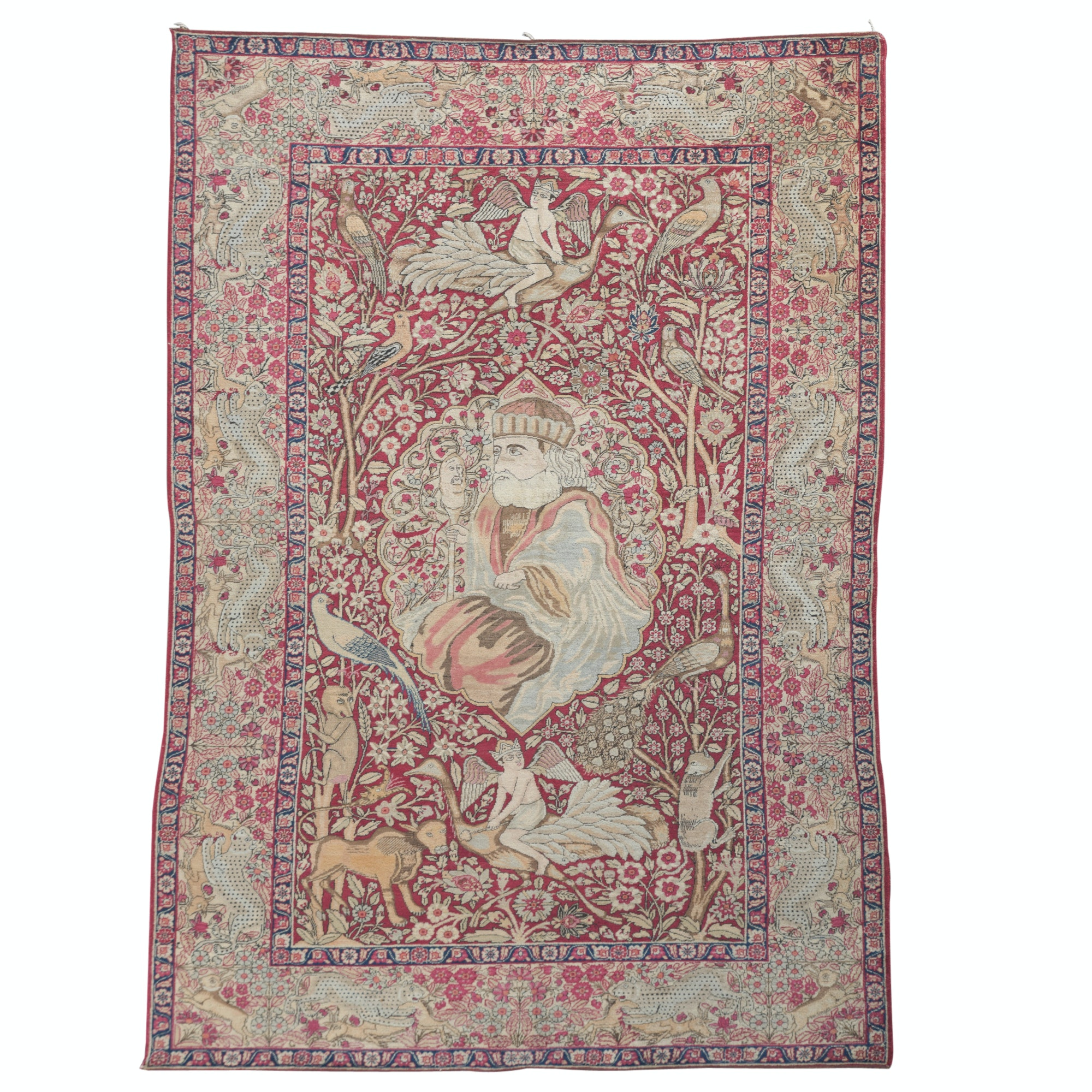 Exceptional Antique Hand-Knotted Lavar Kerman Pictorial Silk Rug, 19th Century