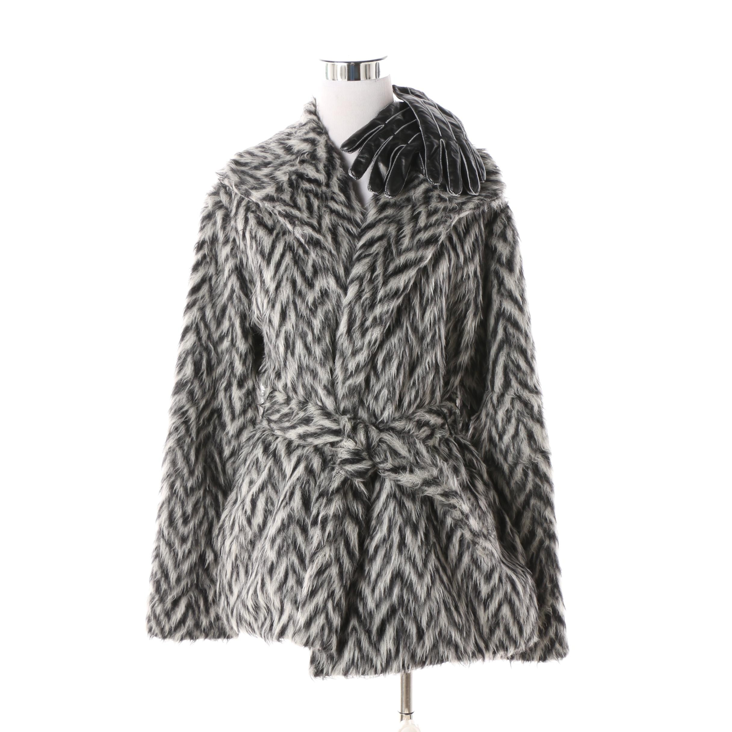 Women's Missoni Alpaca Blend Herringbone Knit Sweater with Leather Gloves