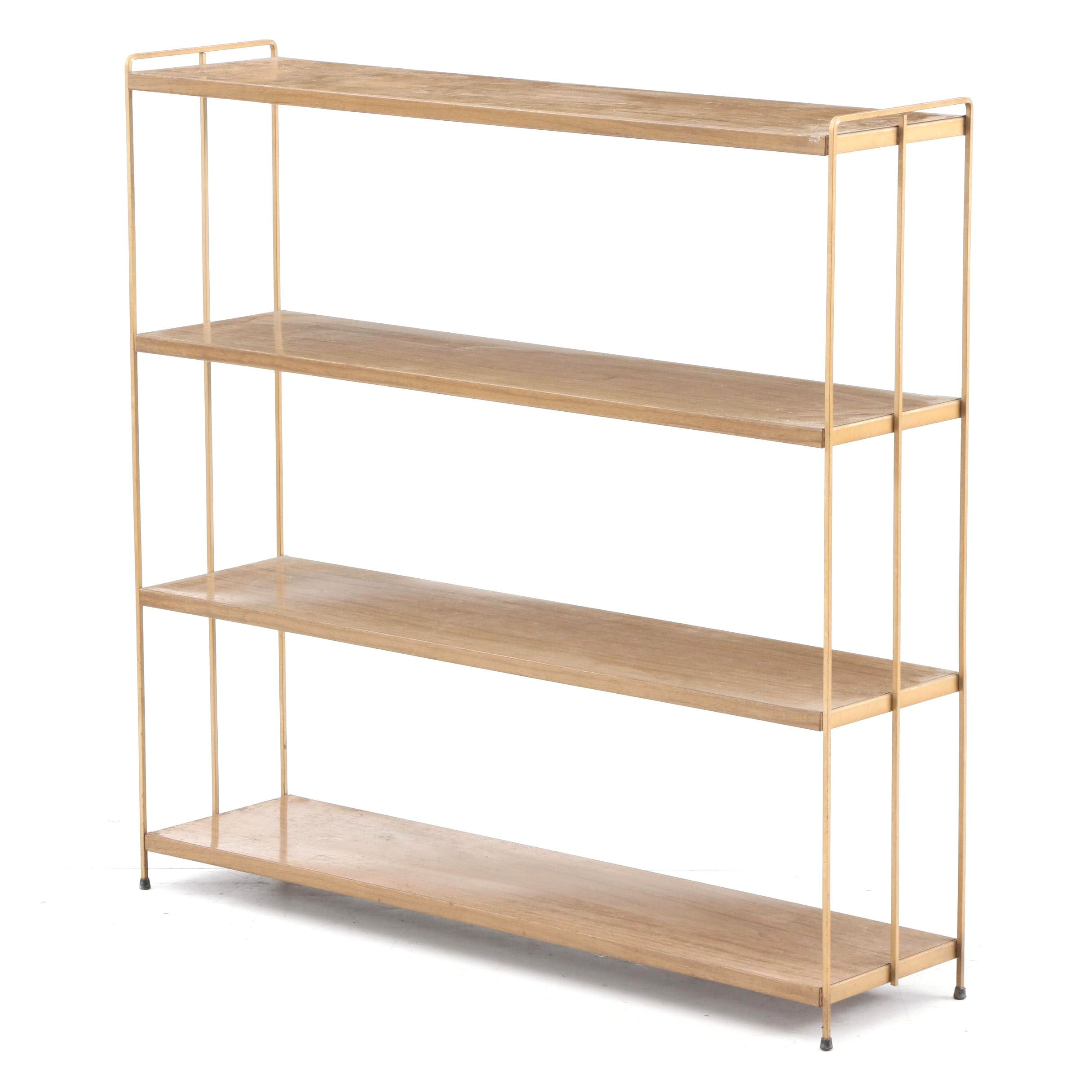 Wood and Metal Shelving Unit, Mid-20th Century