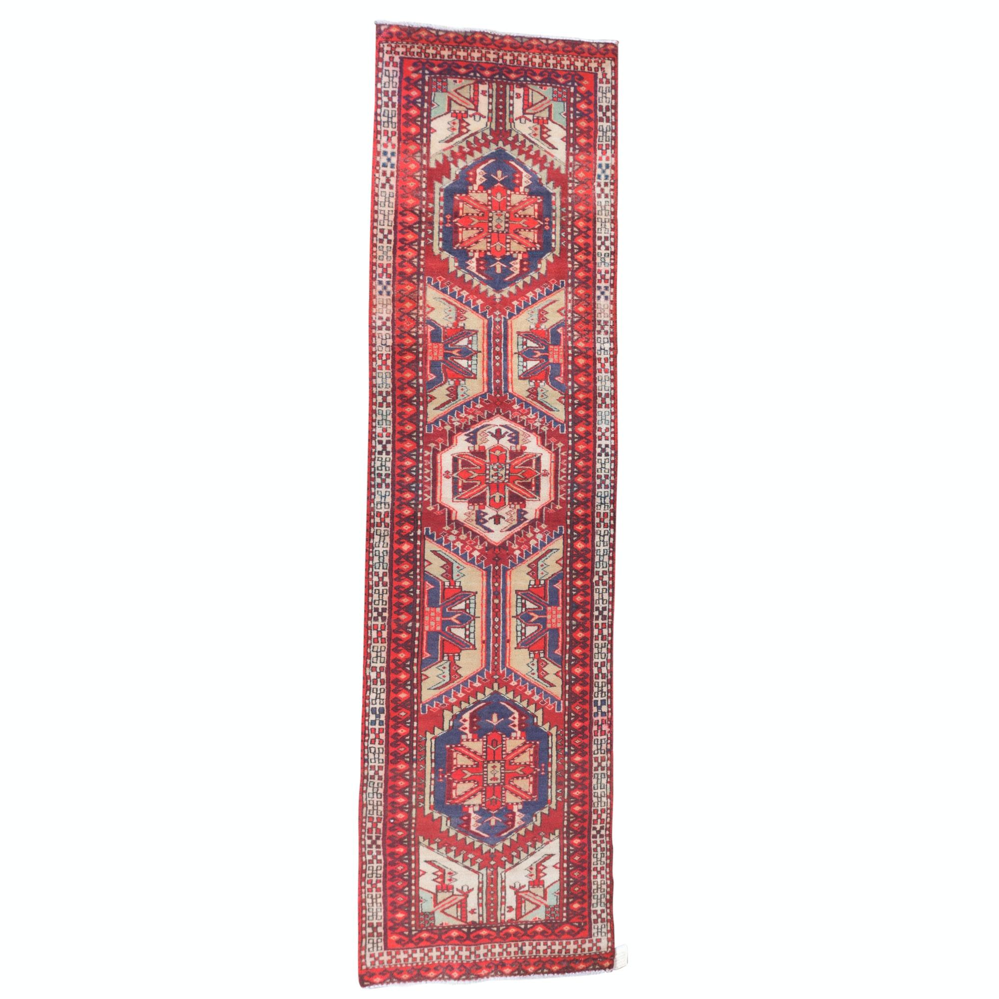 Hand-Knotted Persian Tabriz Wool Carpet Runner