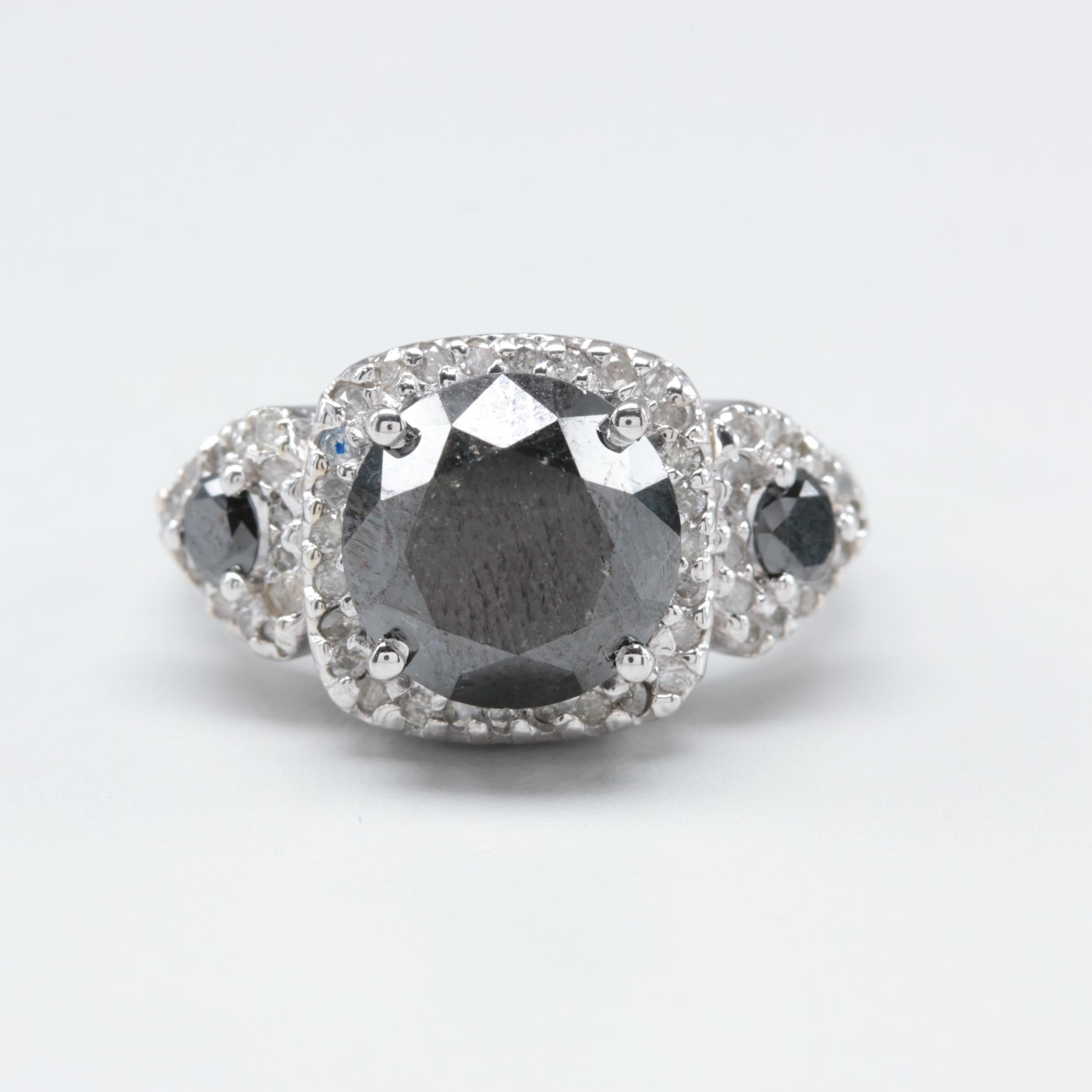 14K White Gold 6.25 CTW Diamond Ring Featuring Black Diamonds