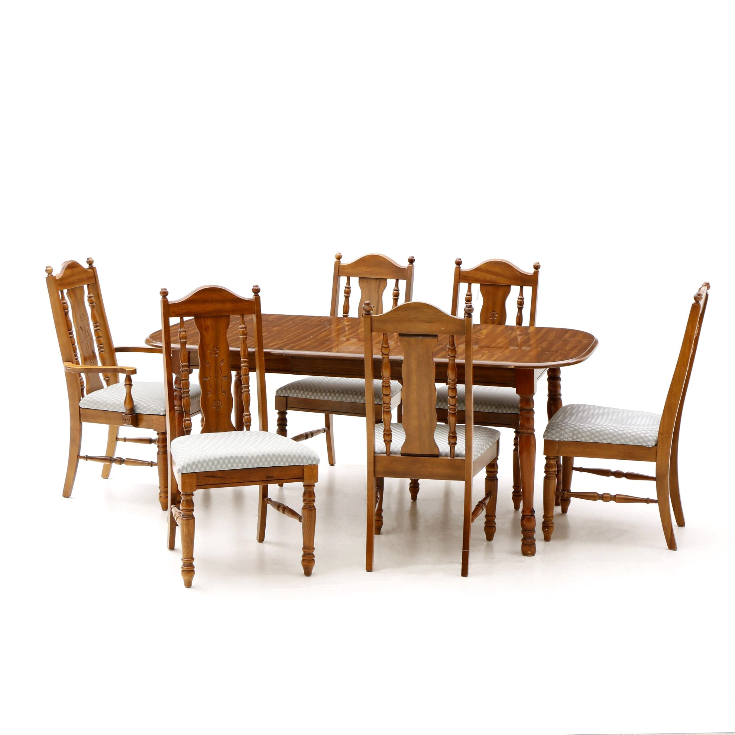 Dining Table With Six Chairs in Fruitwood by Lenoir House