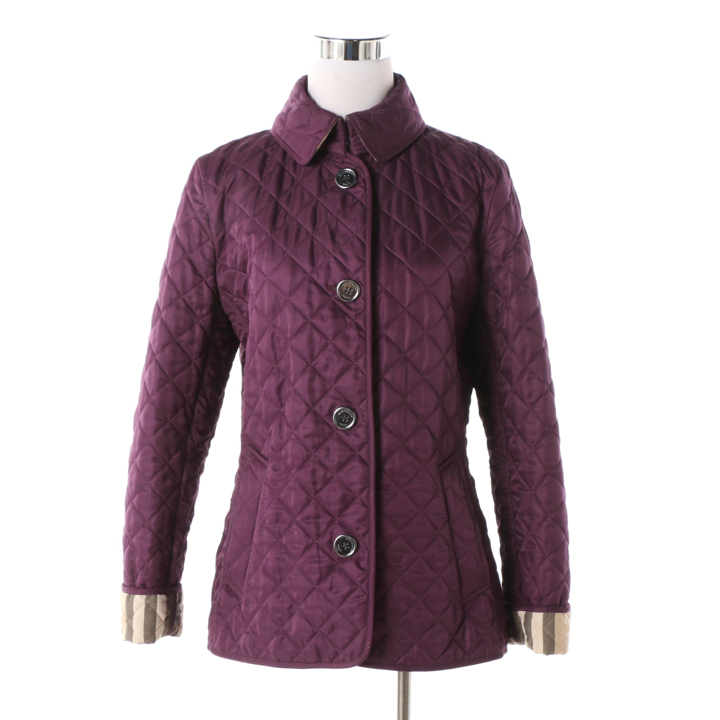 Women's Burberry Brit Plum Quilted Jacket