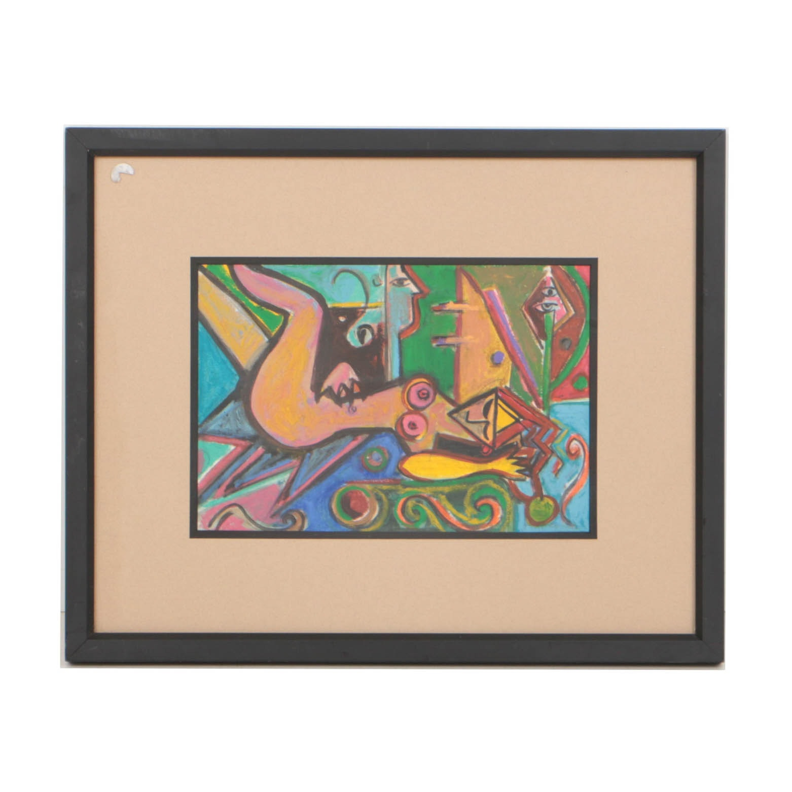 Late 20th Century Abstract Figural Pastel Drawing
