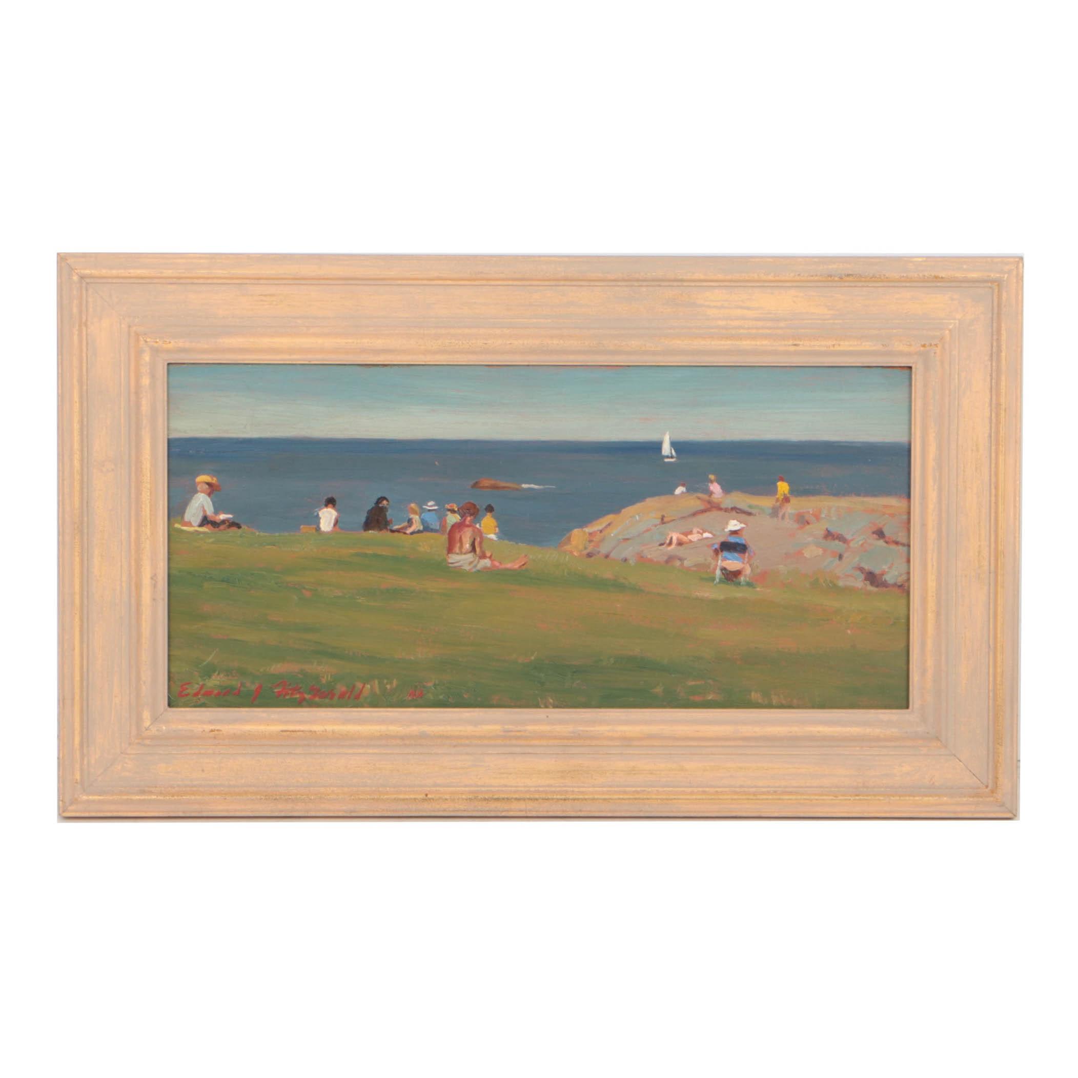 """Edmond J. Fitzgerald Oil on Board """"Art Class in Maine"""""""