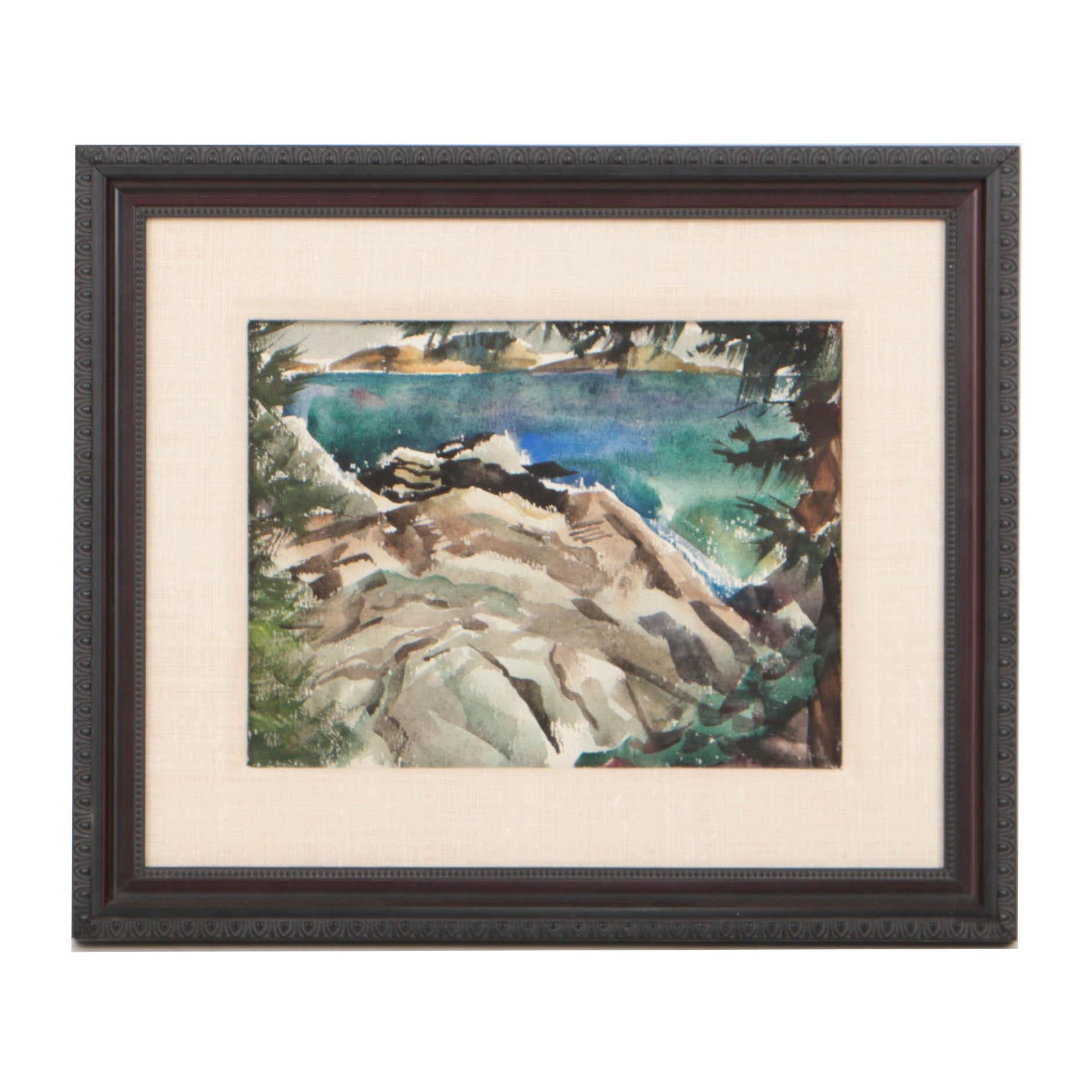 Carl Zimmerman Watercolor on Paper Rocky Coastal Scene