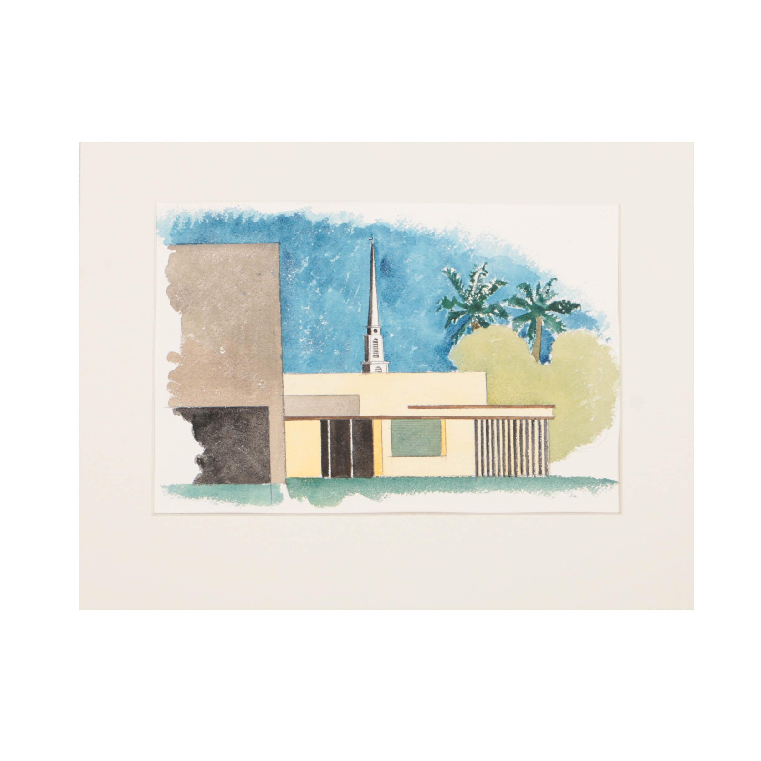 Robert Herrmann Watercolor on Paper Architectural Landscape