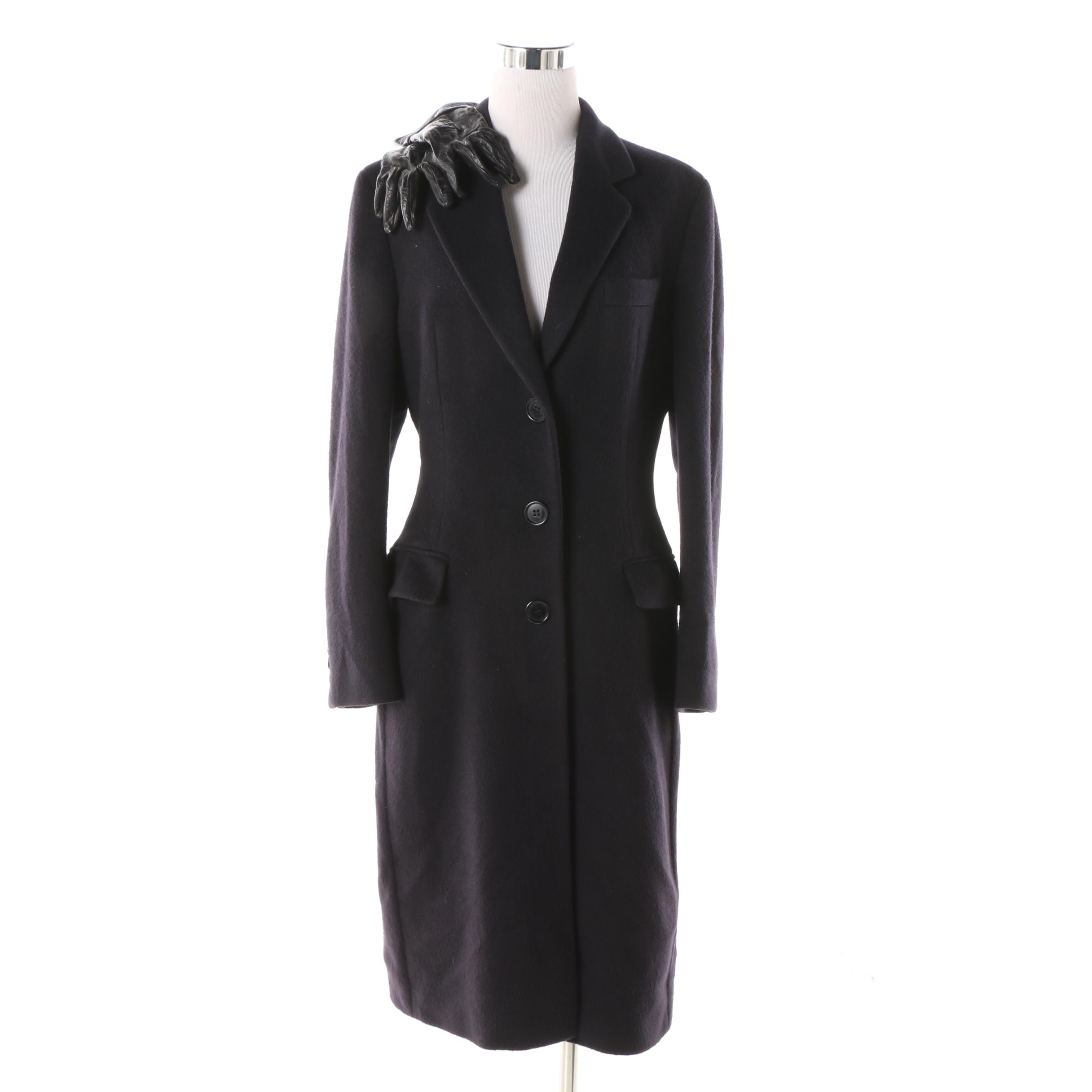 Women's Dolce & Gabbana Dark Navy Cashmere Coat with Fendi Black Leather Gloves
