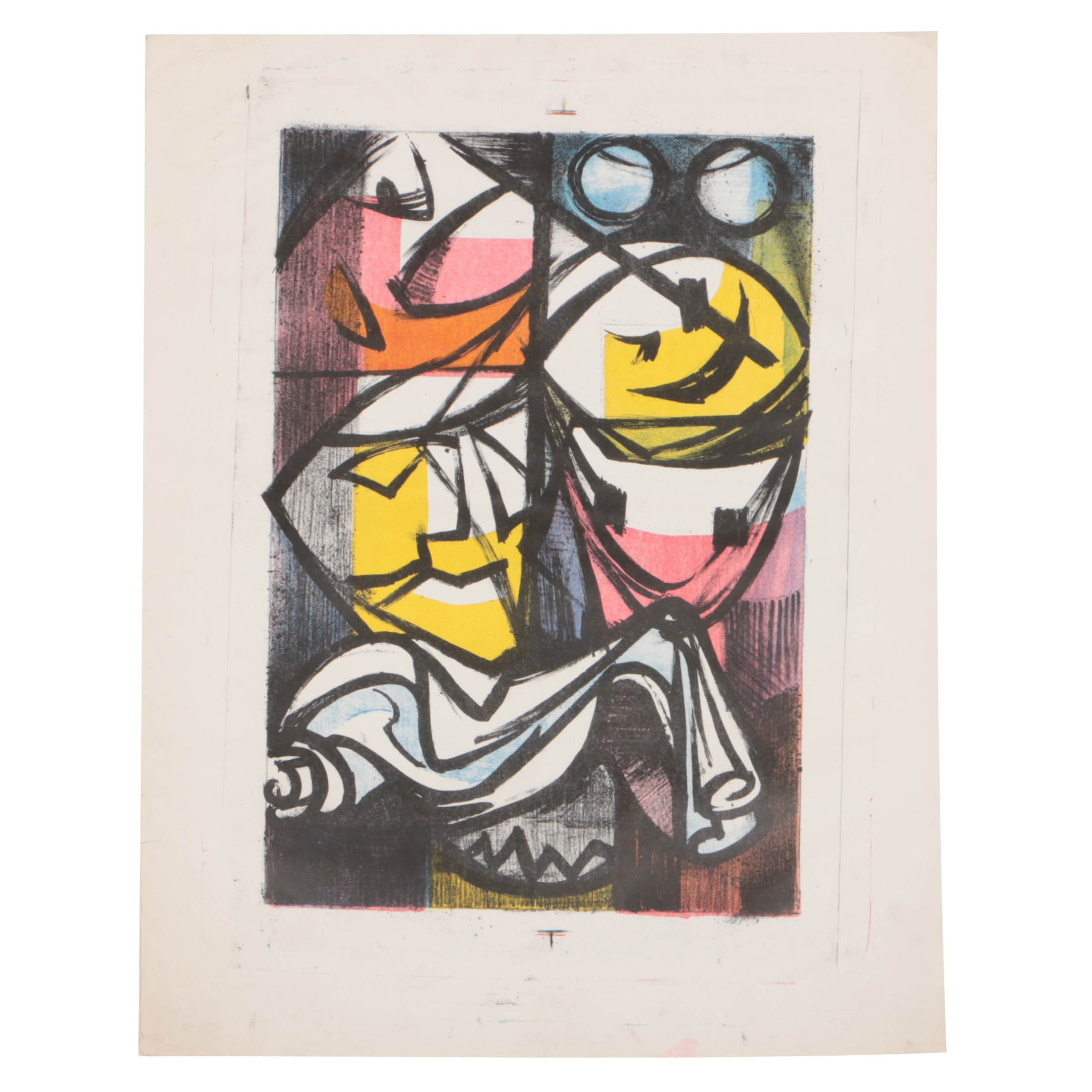 "Arthur Helwig Mid Century Lithograph ""Masks"""