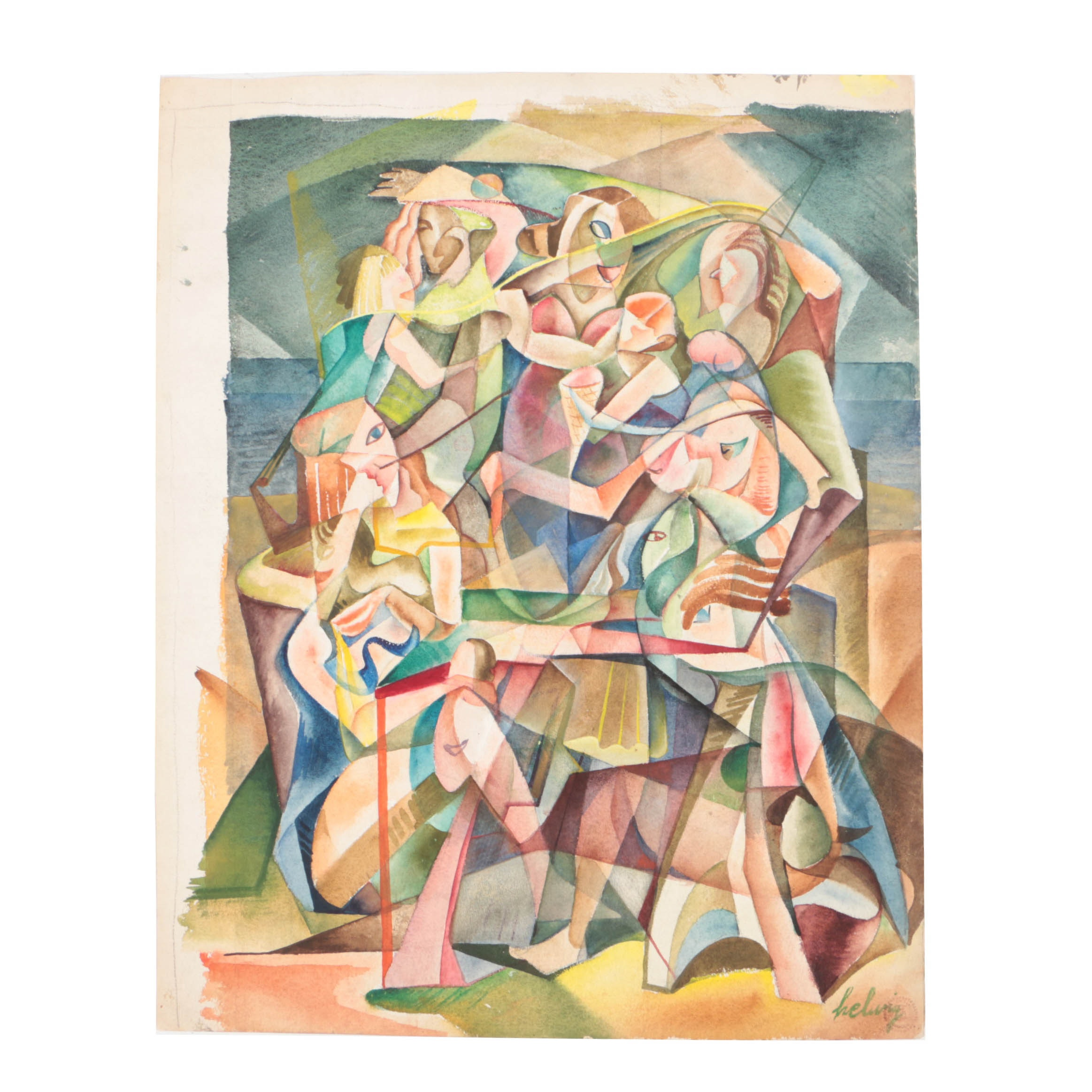 Arthur Helwig Watercolor on Paper of Cubist Figural Composition