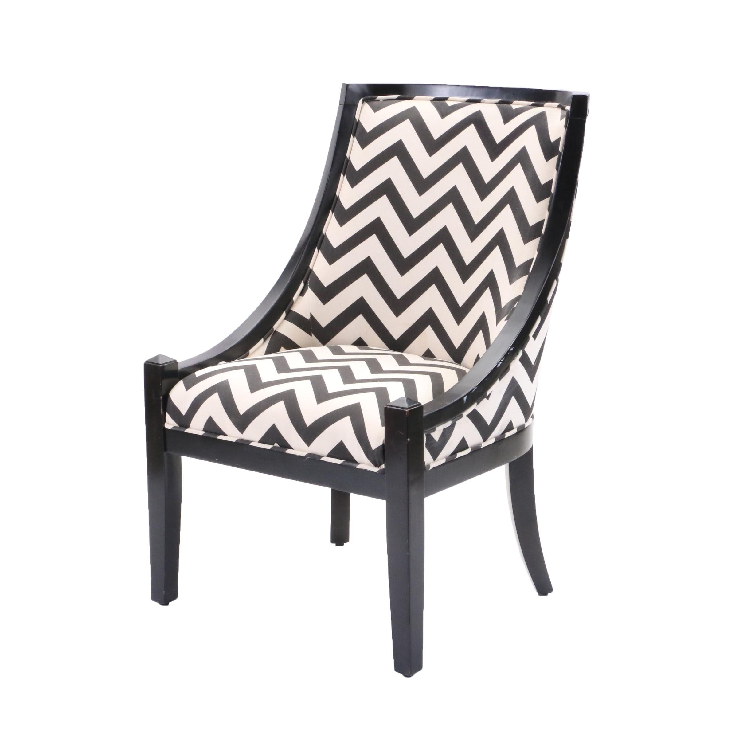 Empire Style Black and White Upholstered Chair, Late 20th or 21st Century