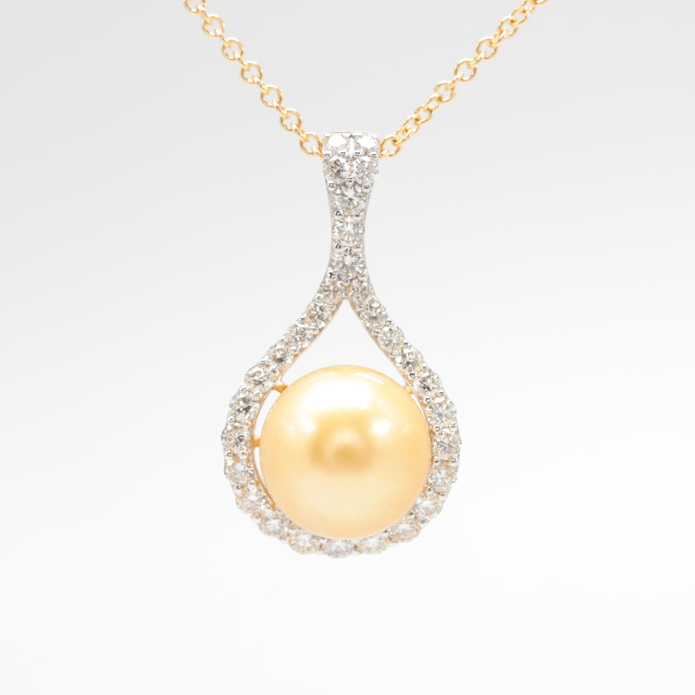 18K Yellow Gold Cultured Pearl and 0.97 CTW Diamond Necklace