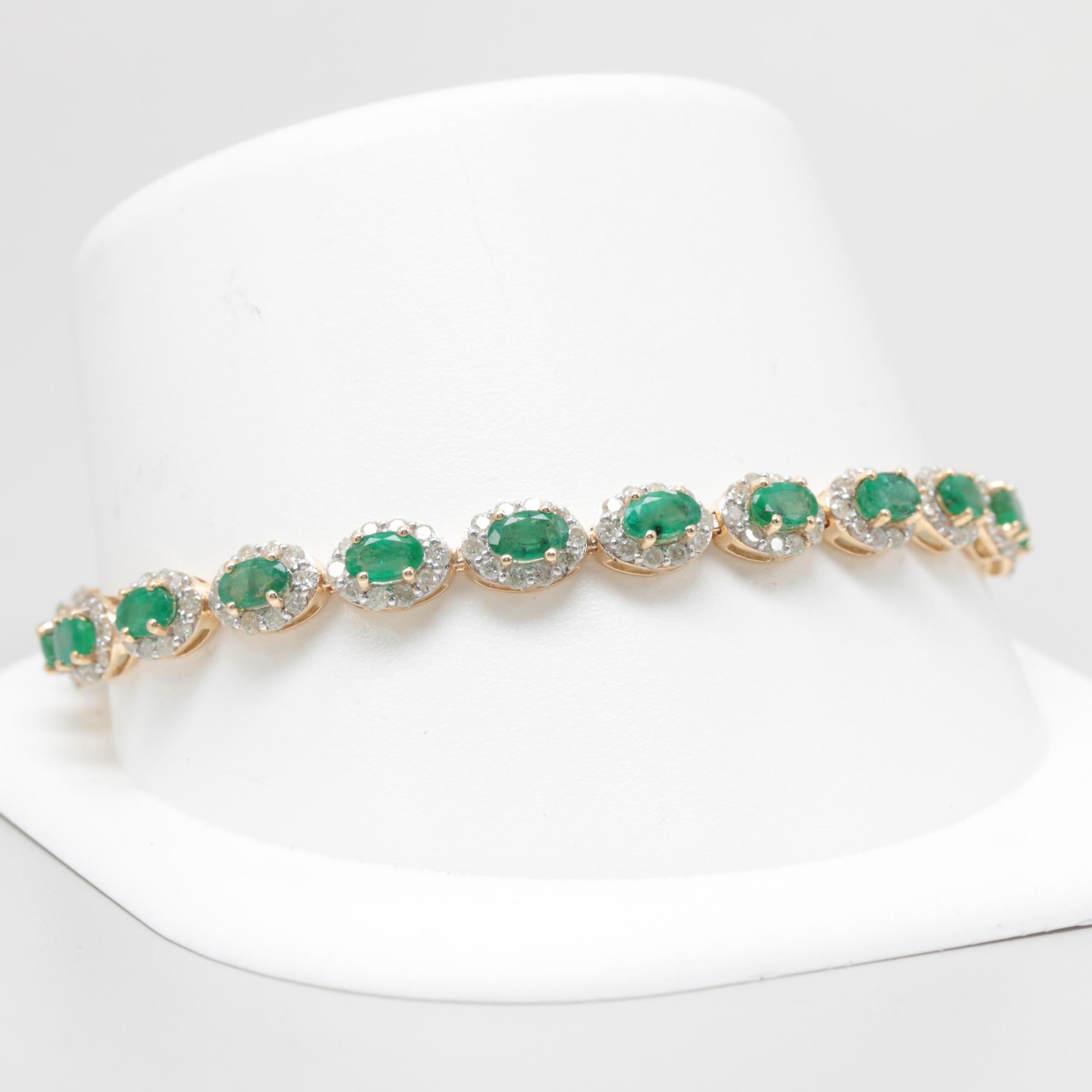 14K Yellow Gold Emerald and 3.30 CTW Diamond Tennis Bracelet