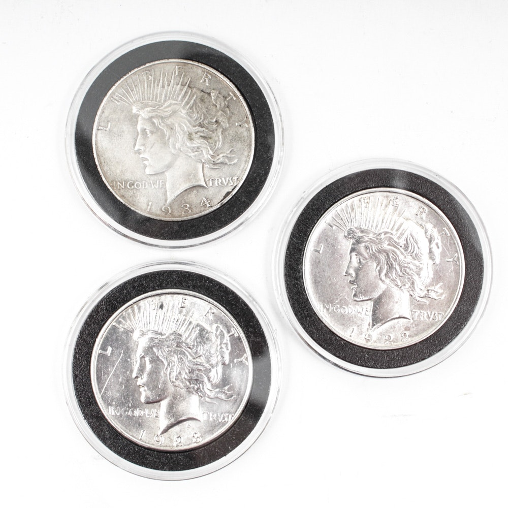 1922-D 1923-S and 1934-D Peace Silver Dollars