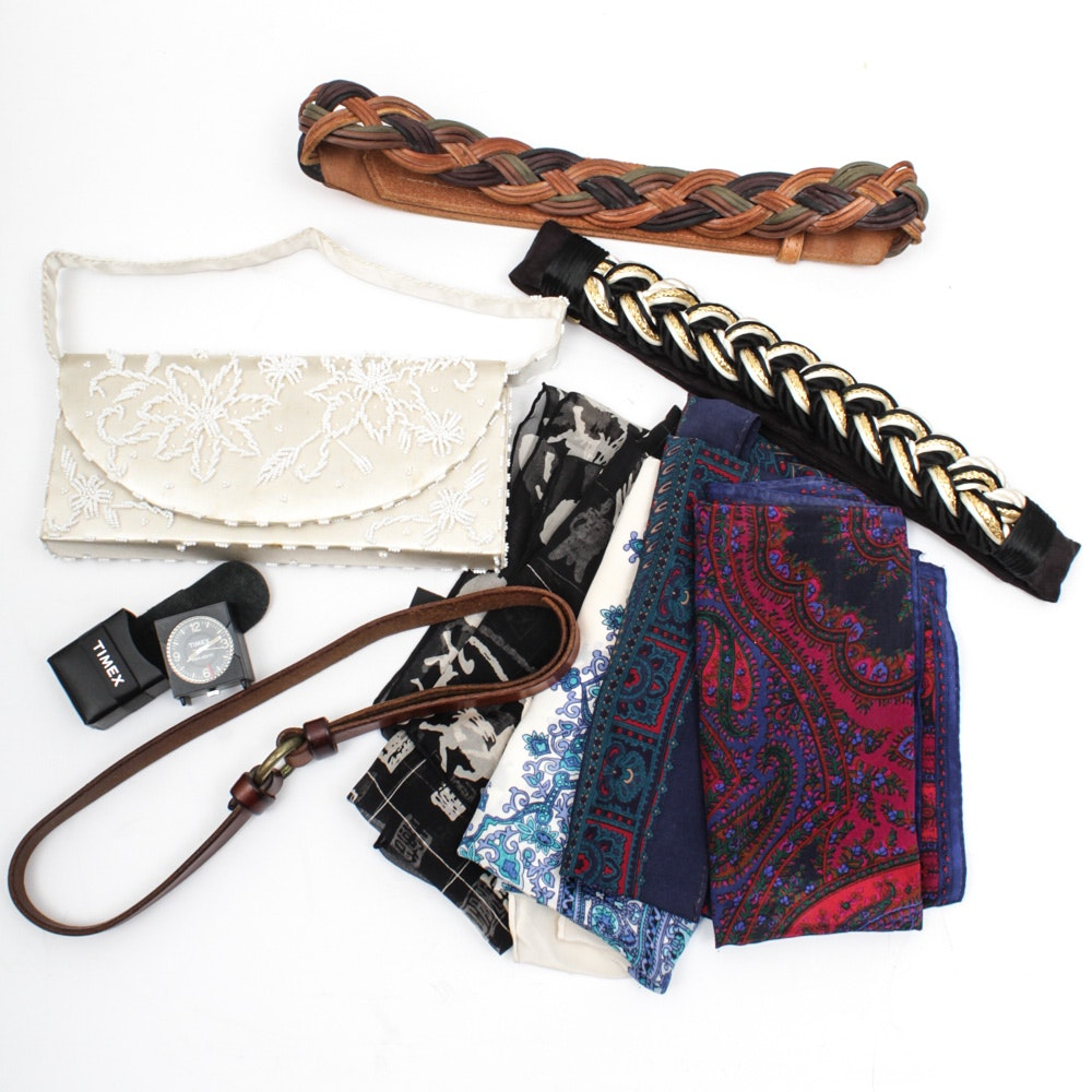 Vintage Women's Fashion Accessories, Silk Scarves and Timex Travel Alarm Clock