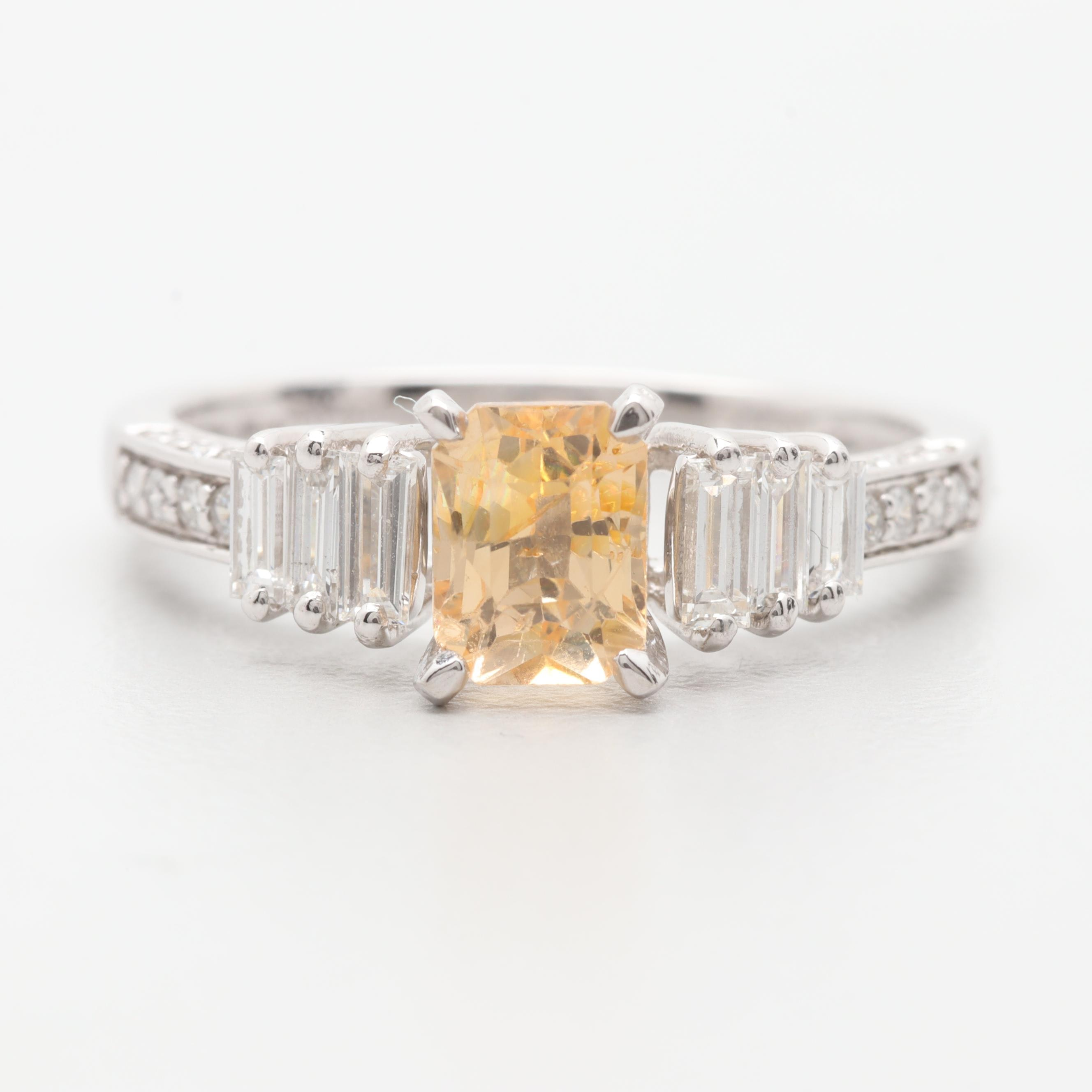 Platinum Yellow Sapphire and Diamond Ring With GIA Report