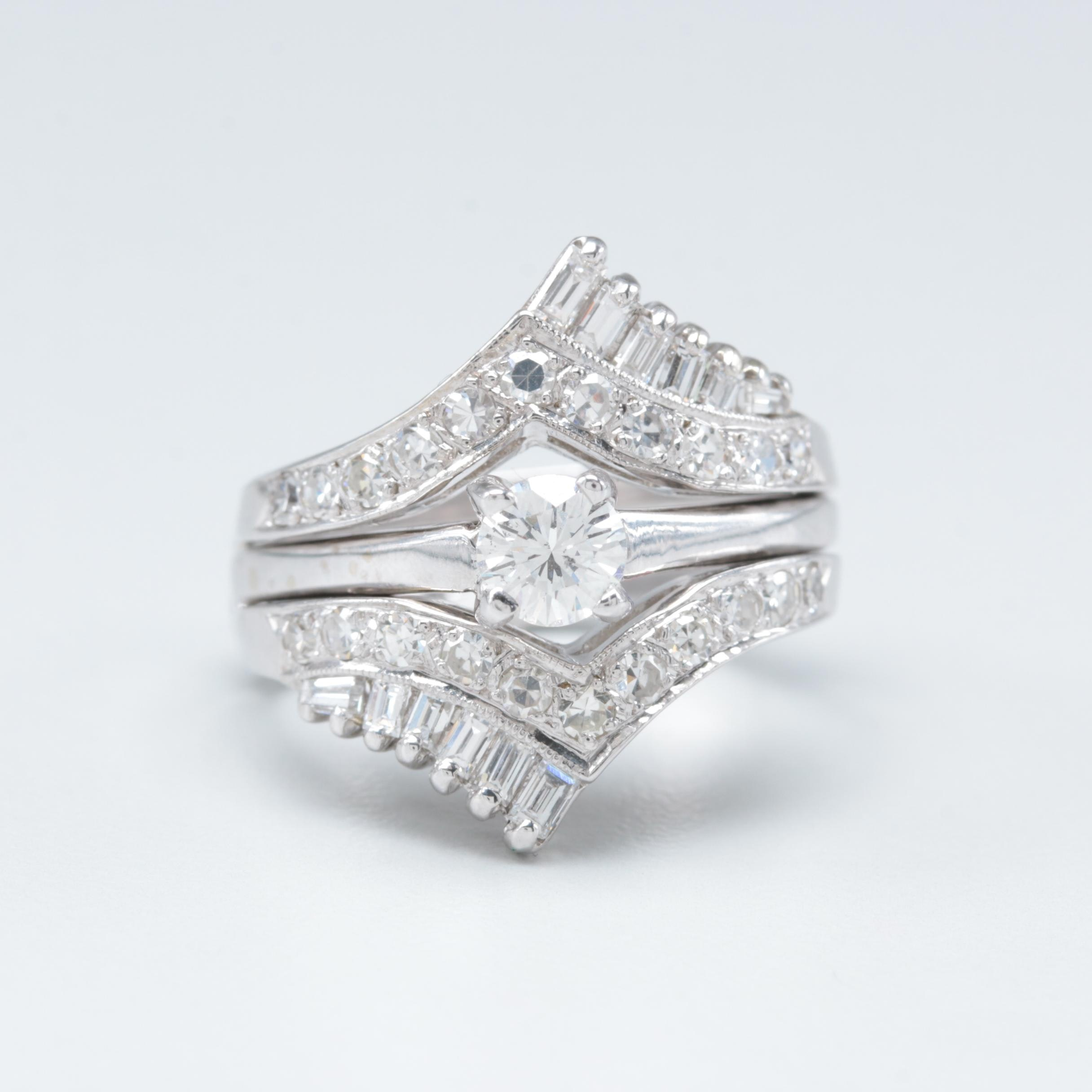 14K White Gold 1.36 CTW Diamond Ring and Ring Jacket