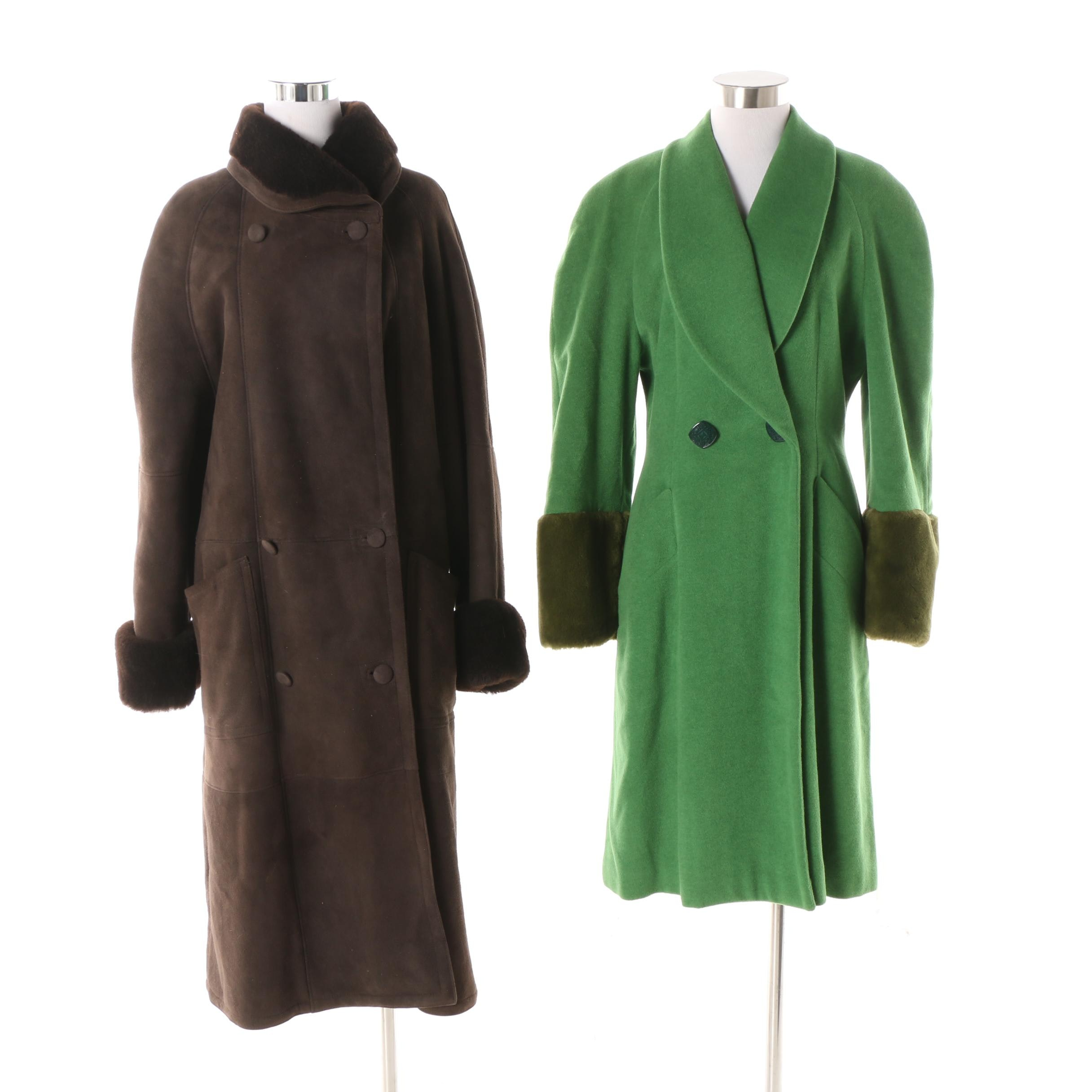 Lolita Lempicka Wool Blend Coat with Robert Arnold Mouton Fur Lined Suede Coat