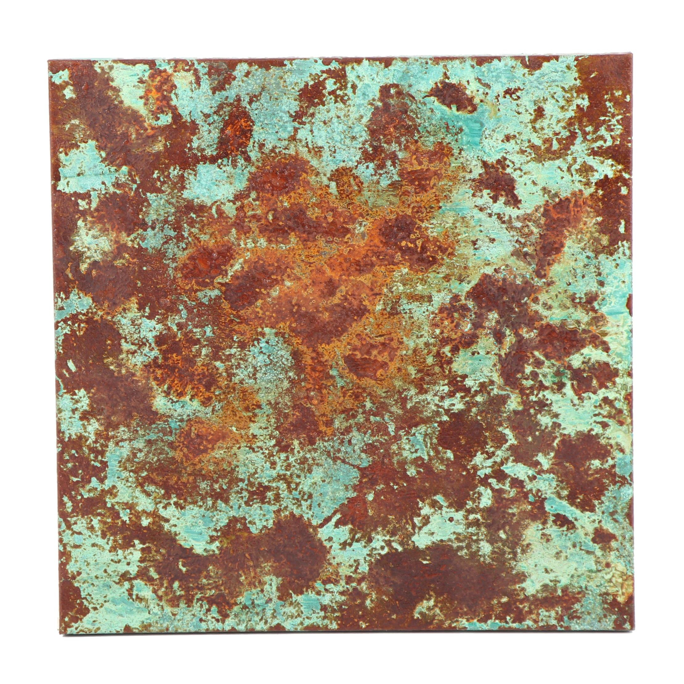 Lisa Steele Abstract Copper and Iron Infused Acrylic Painting