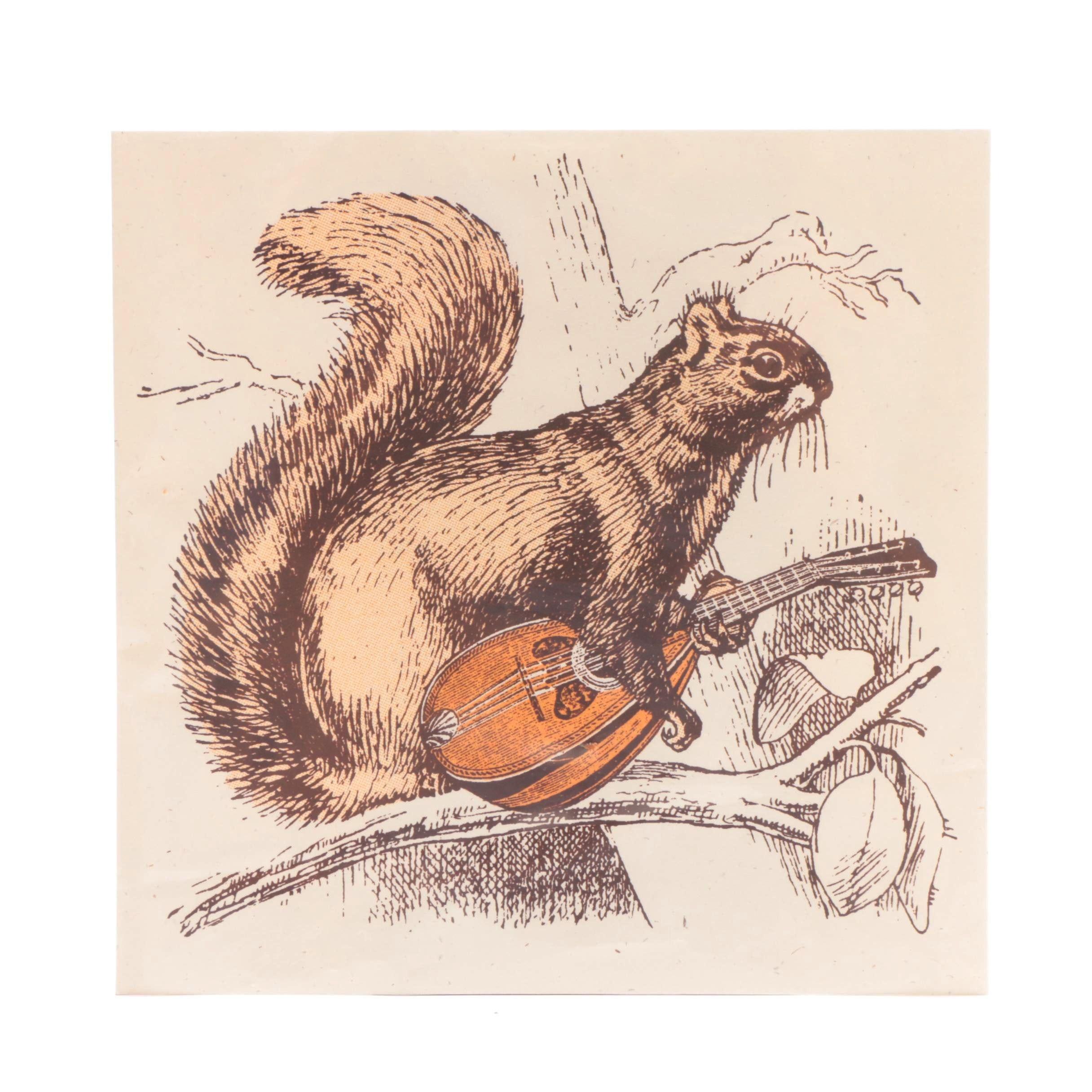 Nate Duval Serigraph Print of Squirrel with Mandolin