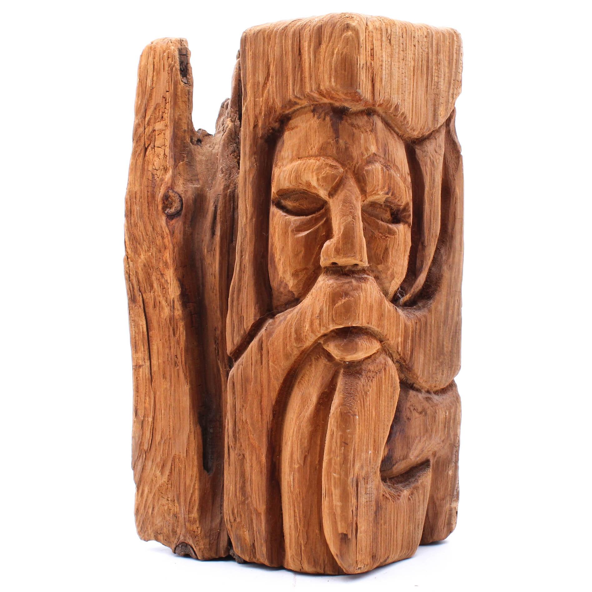 Vintage Carved Driftwood Sculpture