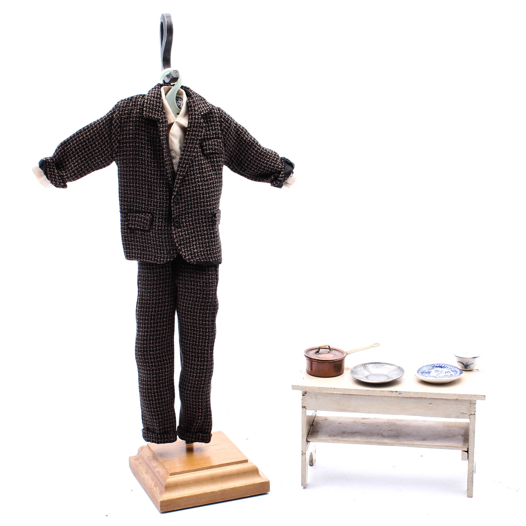1930s Miniature Tweed Suit and Doll Furnishings