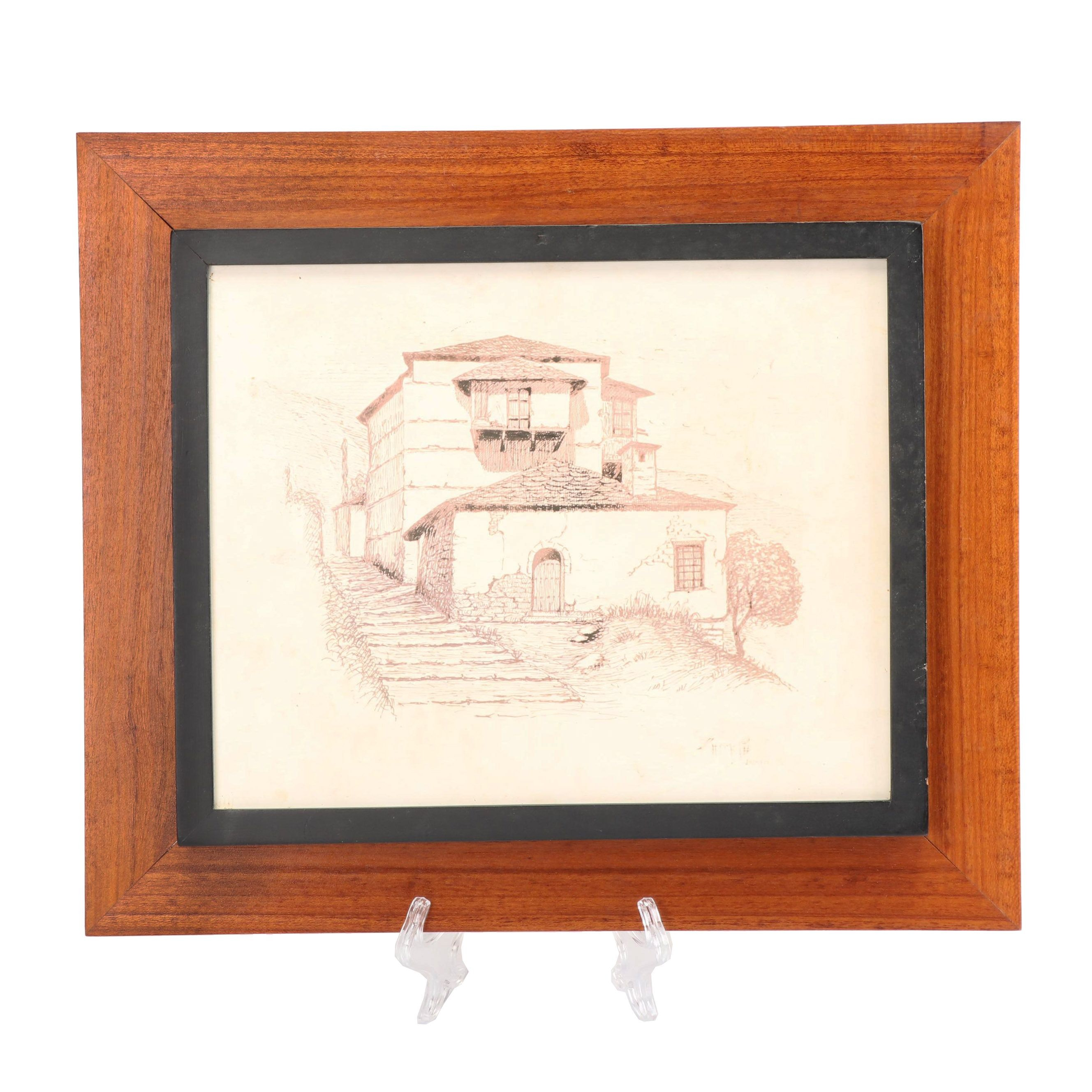 Mid-Century Offset Lithograph of Greek Architecture