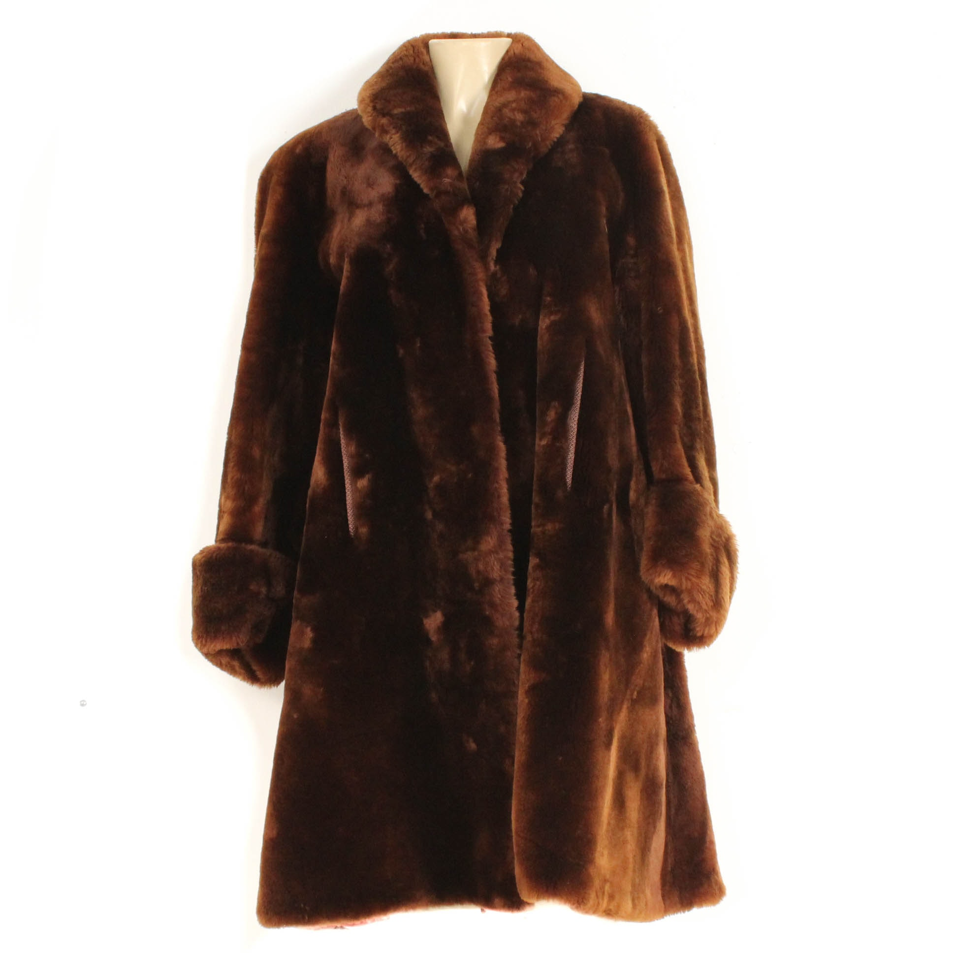 Vintage Brown Mouton Fur Coat