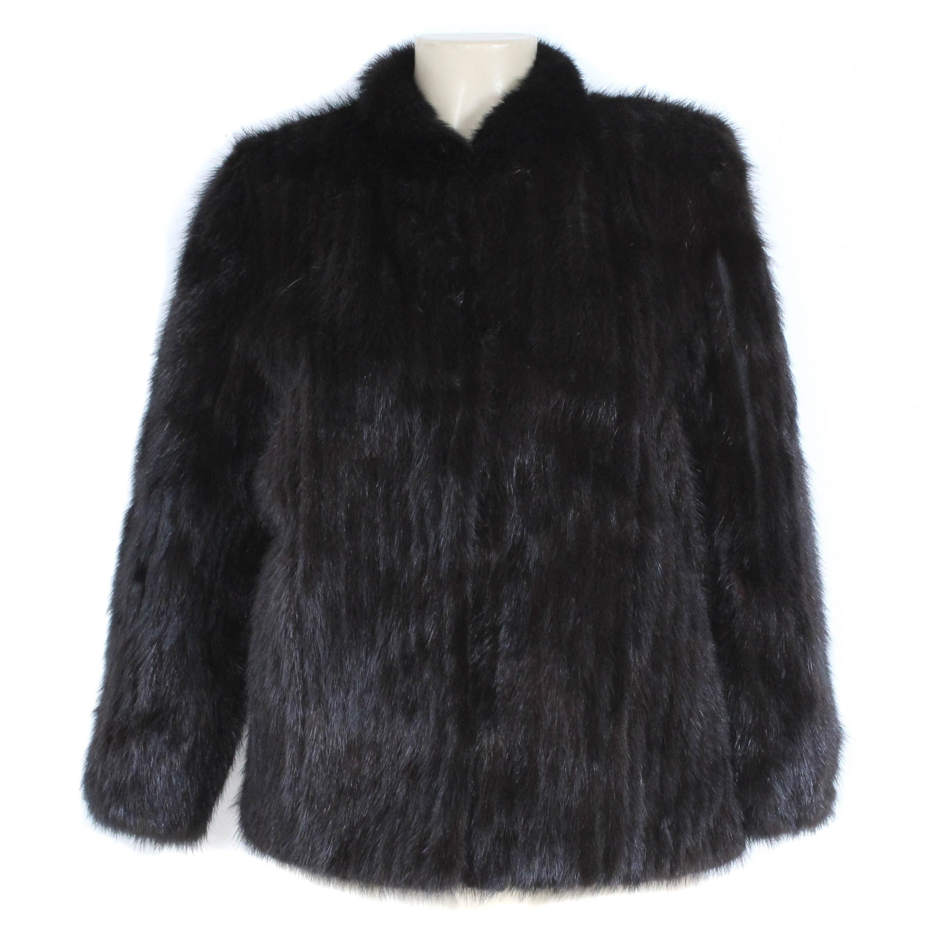 Graggs Dyed Black Corded Mink Fur Jacket