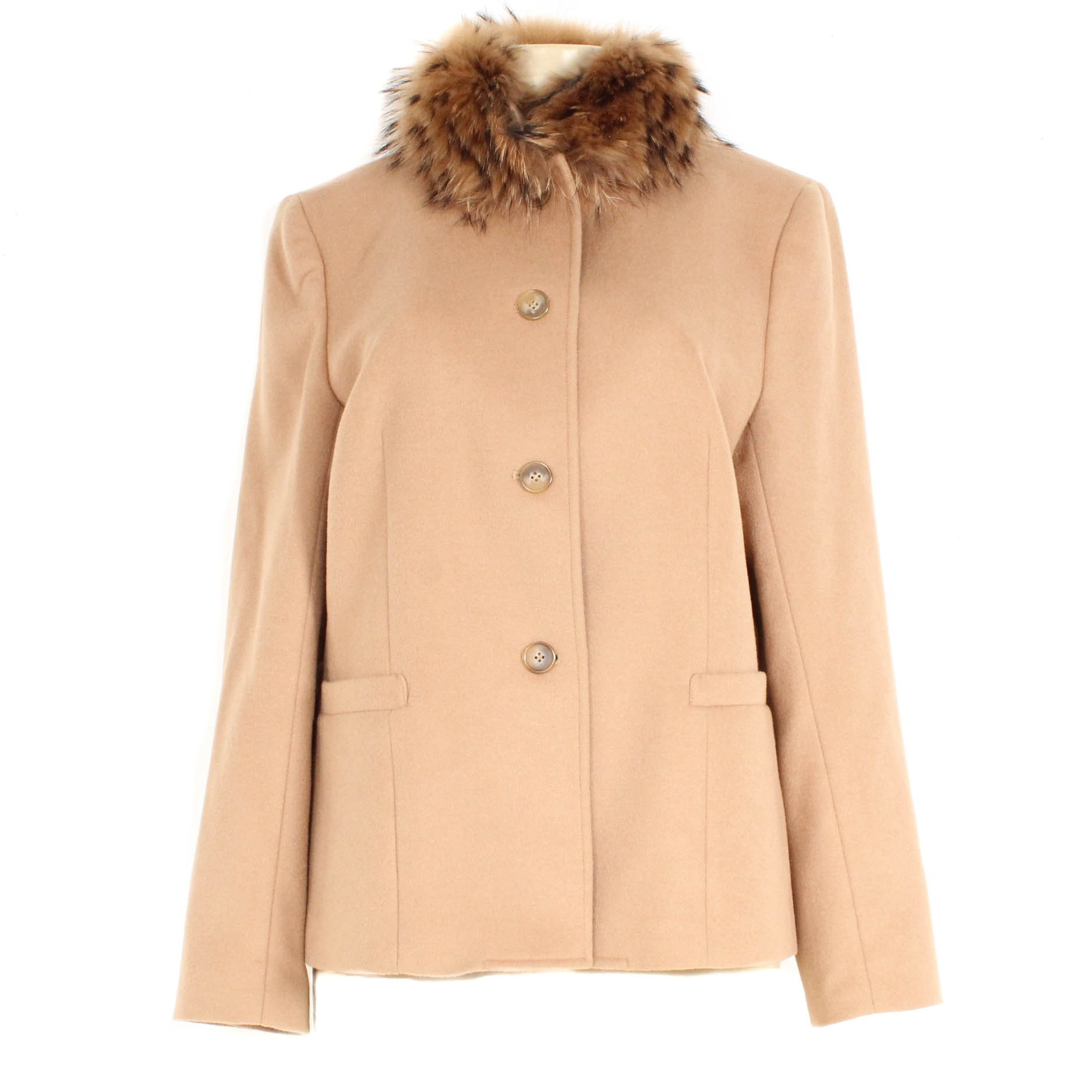 Casual Corner Wool Jacket with Removable Raccoon Fur Collar