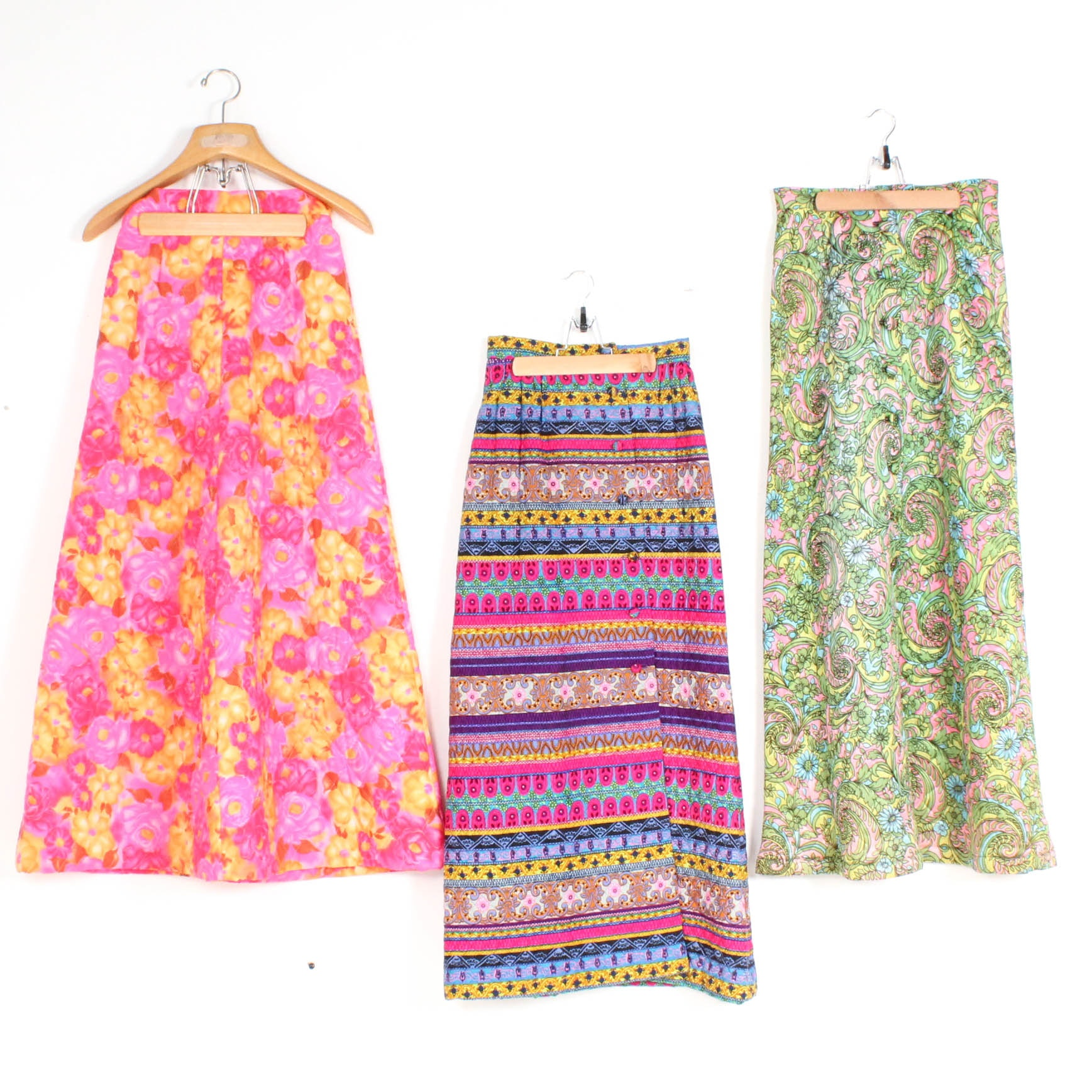 Vintage Colorful Quilted Maxi Skirts Including Alex Coleman