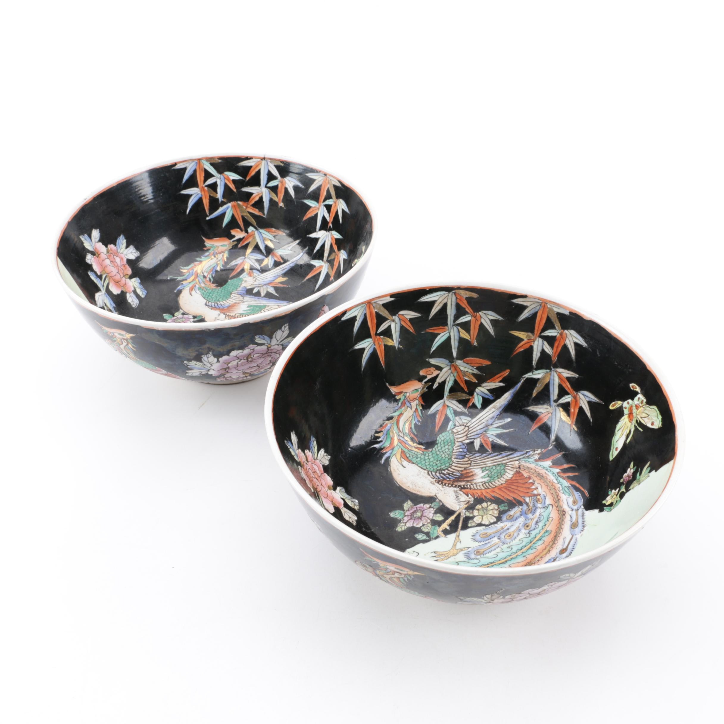 Vintage Chinese Famille Noir Style Porcelain Bowls
