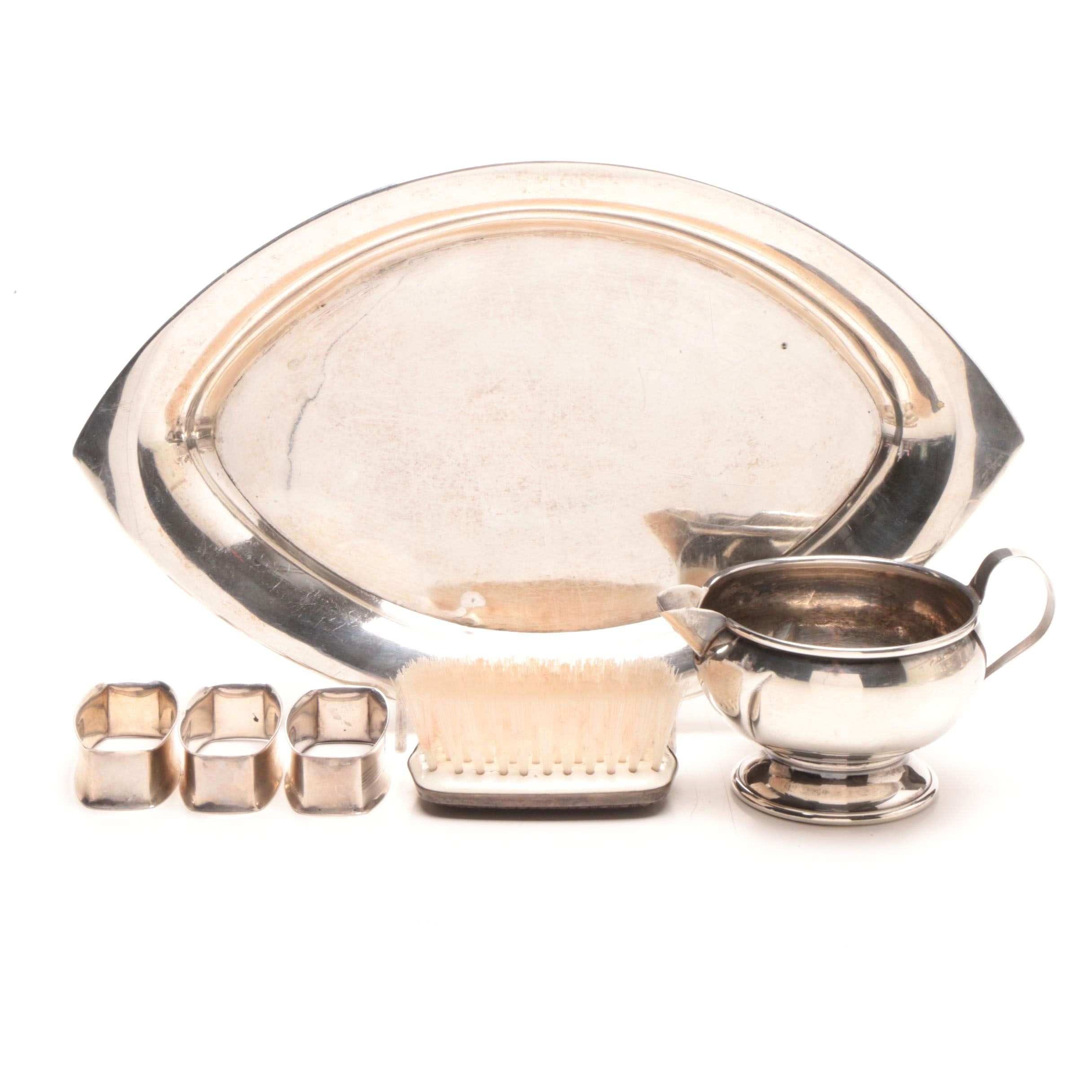 Webster Co. Sterling Tray and Napkin Rings with Sterling Brush and Creamer