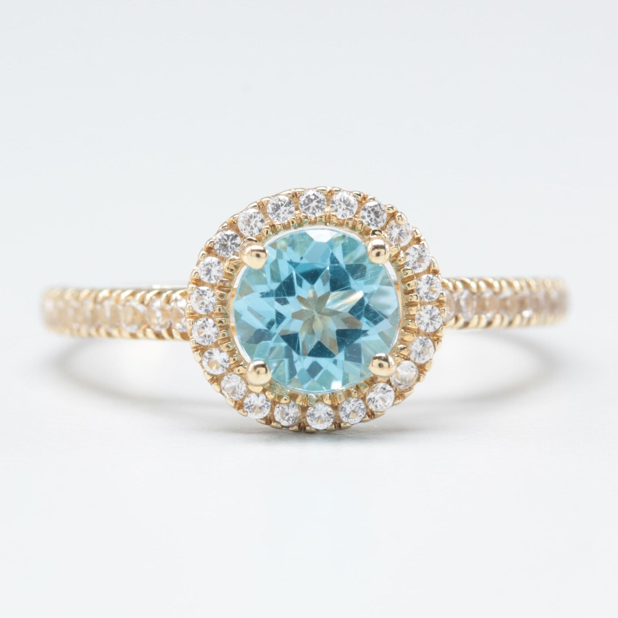 10K Yellow Gold Blue and White Topaz Ring