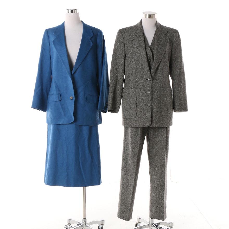 5ee15e4d7341b3 Women's Circa 1980 Vintage Burberrys Wool Pantsuit and Silk Skirt Suit