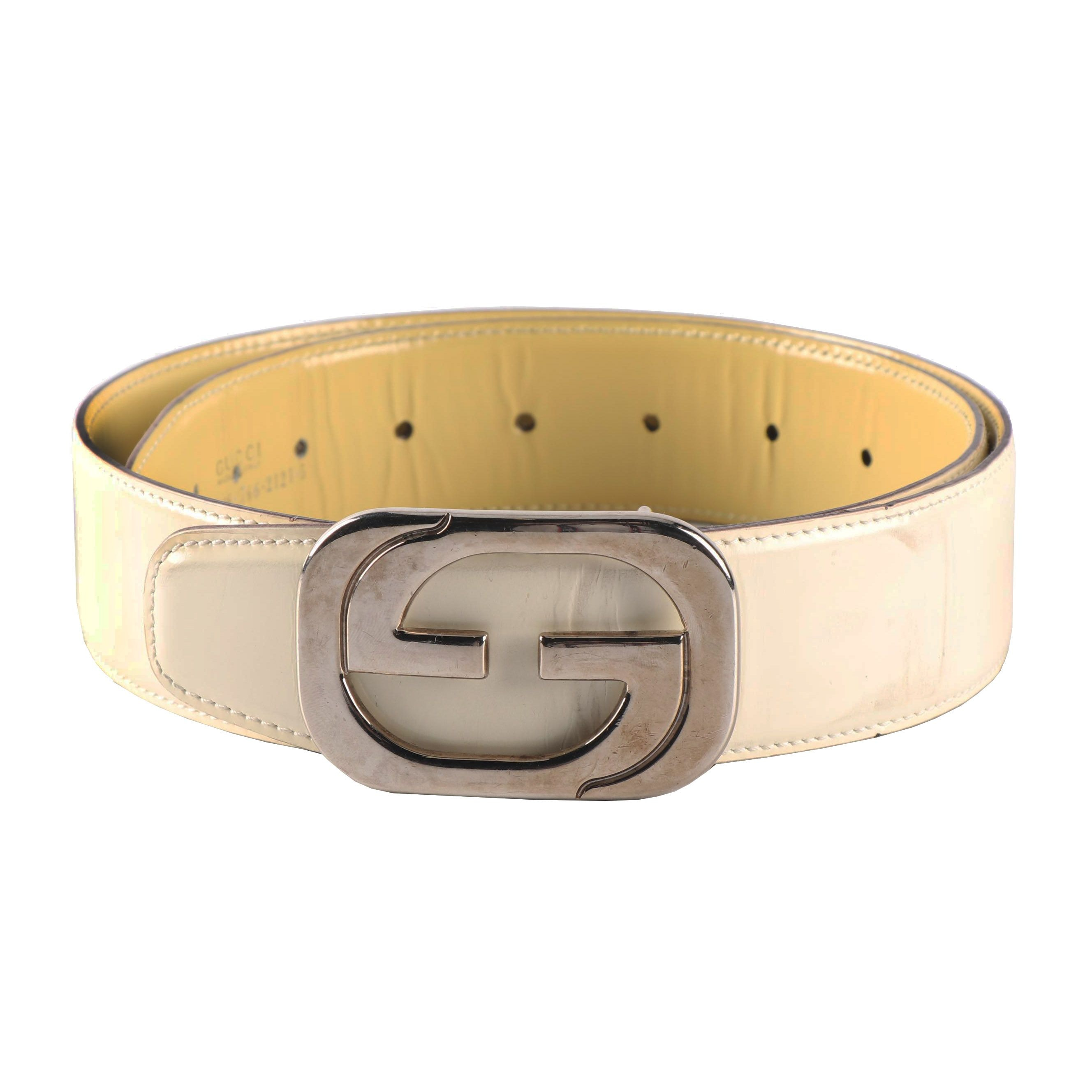 Gucci Off-White Leather Belt featuring GG Interlocking Silver Tone Buckle