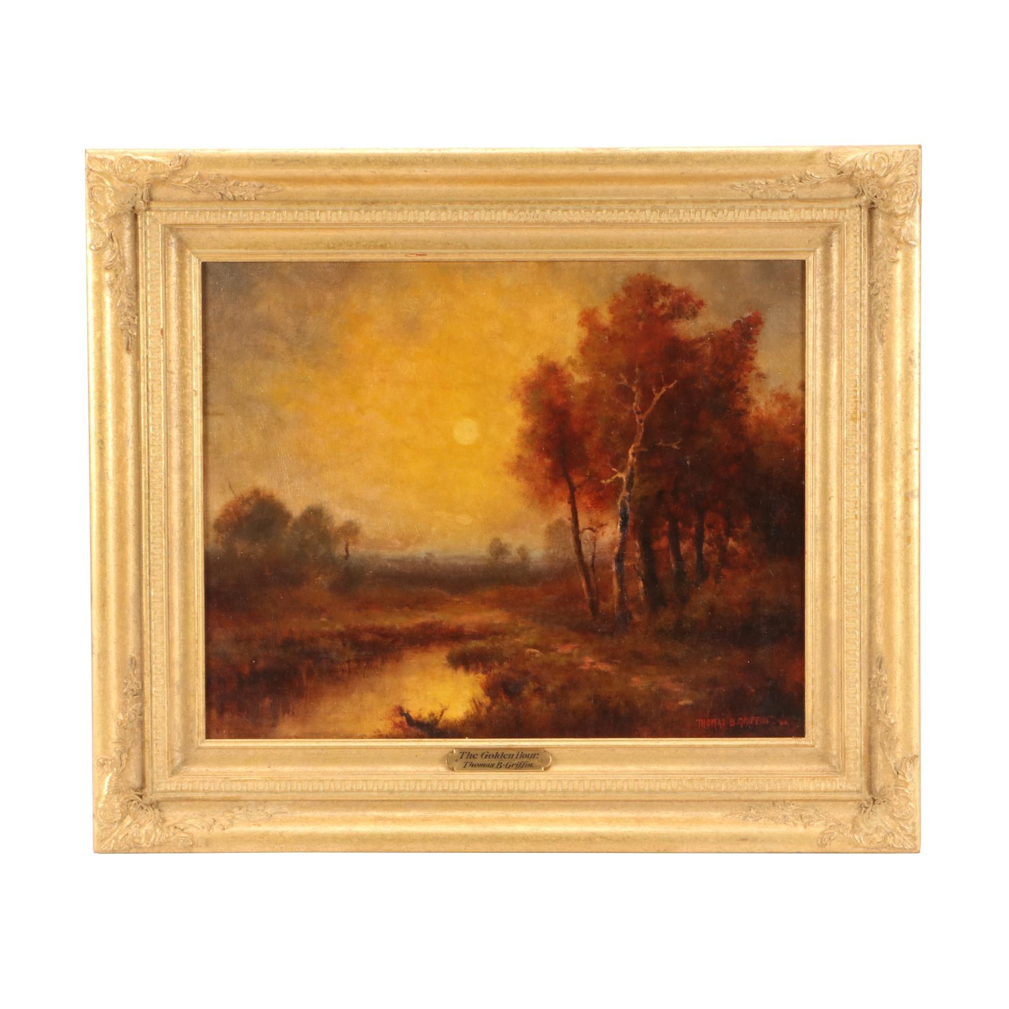 """Thomas B. Griffin 1900 Tonalist Oil Landscape Painting """"The Golden Hour"""""""